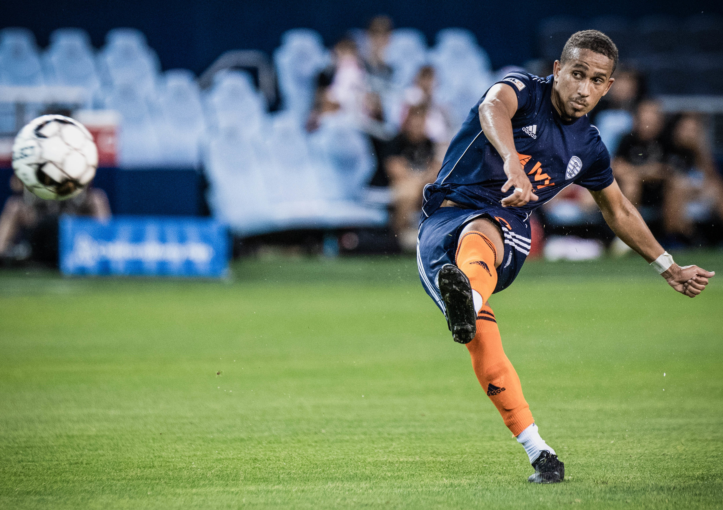Defender/midfielder, Alexsander (92) takes a free kick during the Swope Park Rangers vs. Loudoun United FC match on Wednesday, June 5, 2019 at Children's Mercy Park, Kansas City, Kansas. | Photo by: Noah Riffe