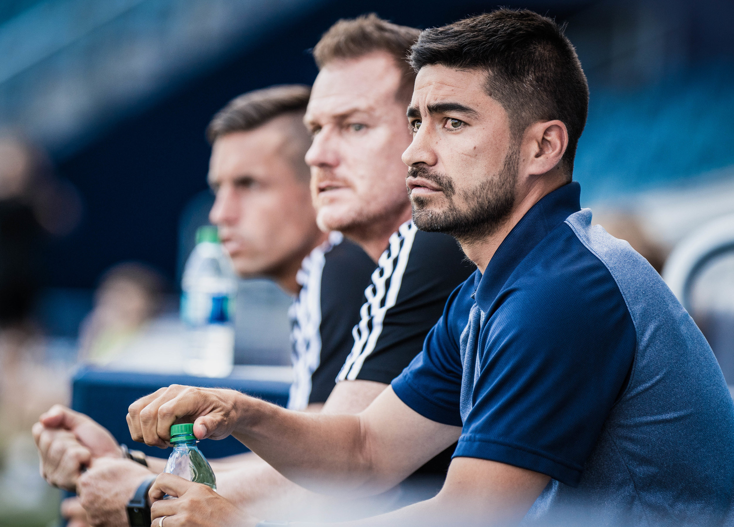 Swope Park Rangers head coach Paulo Nagamura watches on during the Swope Park Rangers vs. Charlotte Independence match on Saturday, June 8, 2019 at Children's Mercy Park, in Kansas City, Kansas. The Rangers drew the Independence 0-0. | Photo by: Noah Riffe