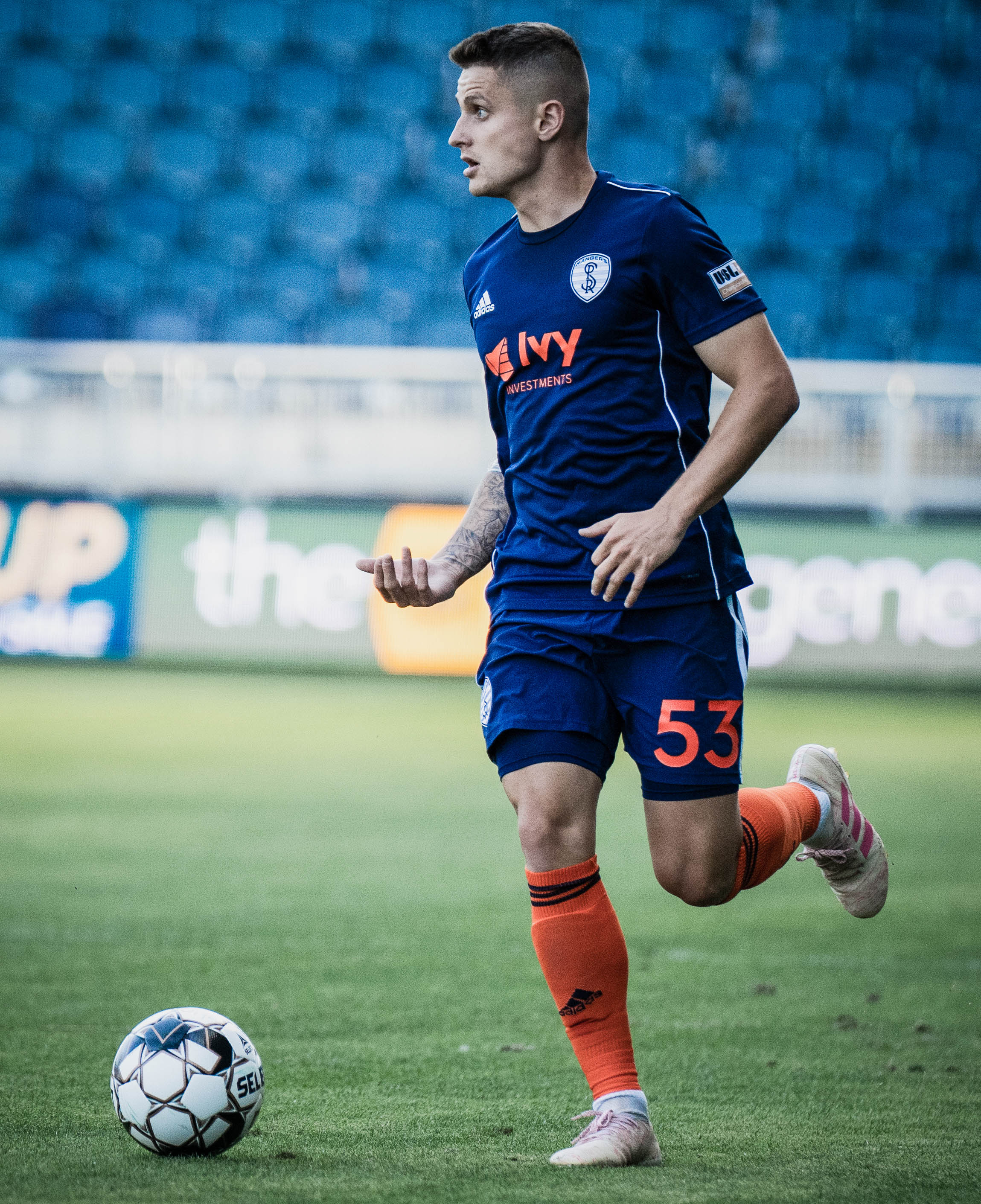 Killian Colombia dribbles the ball during the Swope Park Rangers vs. Charlotte Independence match on Saturday, June 8, 2019 at Children's Mercy Park, Kansas City, Kansas. The Rangers drew the Independence 0-0. | Photo by: Noah Riffe