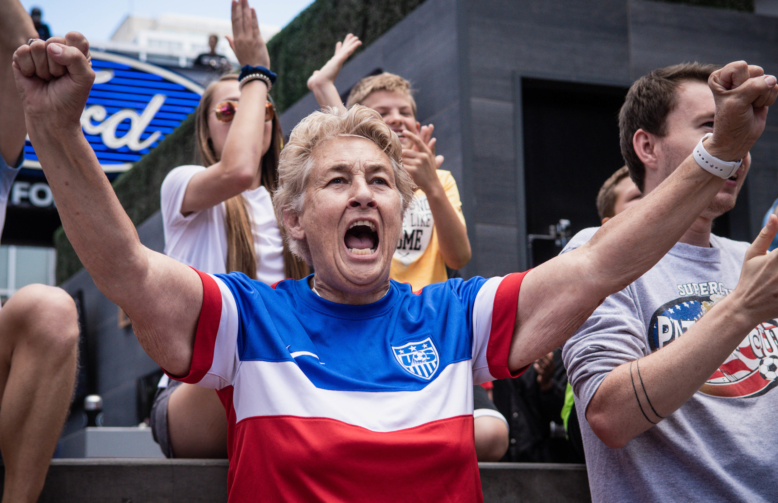 Sporting Kansas City hosts a Women's World Cup watch parties on June 24, 2019, at Kansas City Live! The U.S. Women's National Team continued their run, beating Spain 2-1 and advanced to the quarterfinals. | Photo by: Noah Riffe