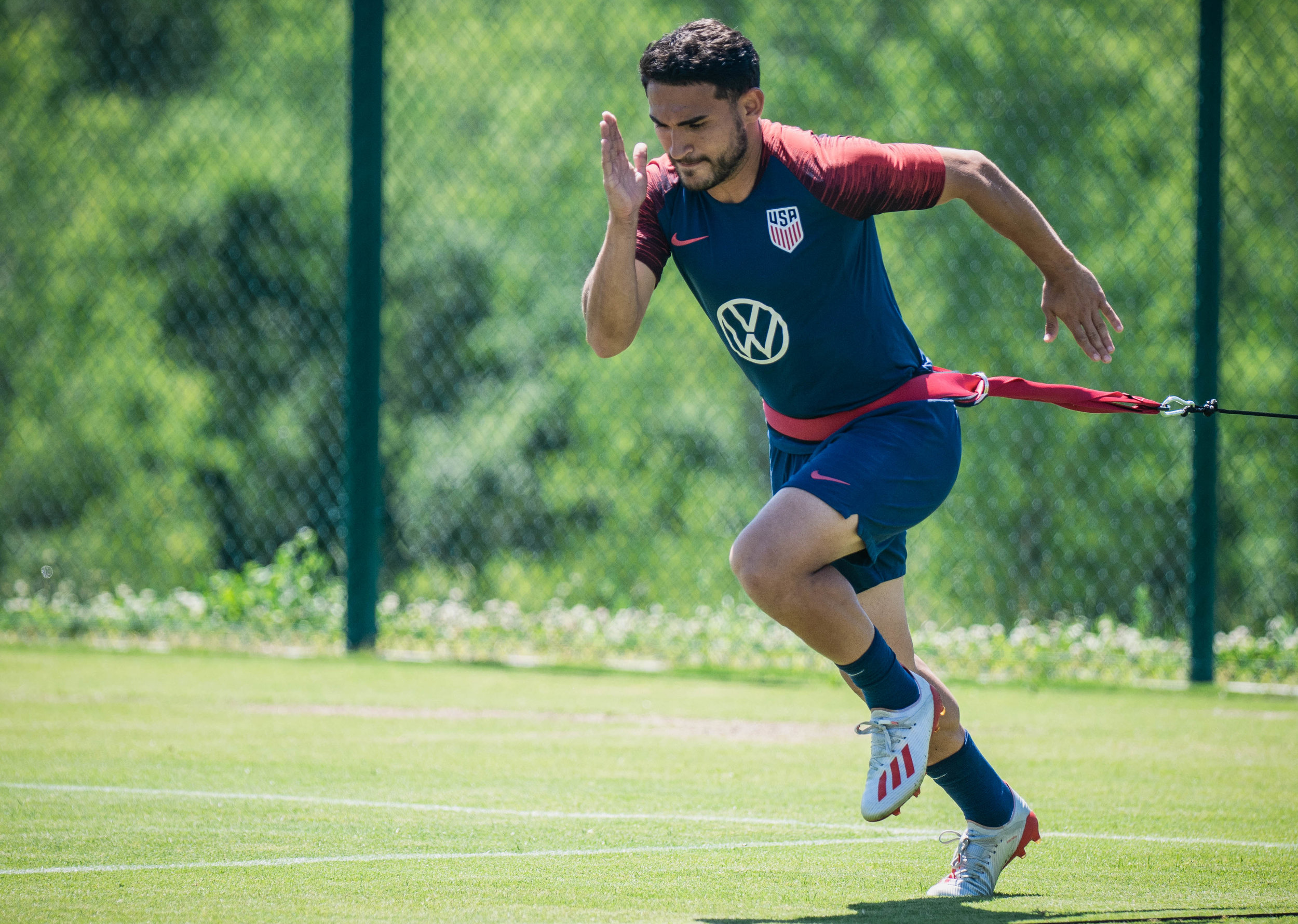 Christian Roldan runs during the U.S. Men's National Team, Gold Cup training session on Tuesday, June 25, 2019 at Pinnacle National Development Center in Kansas City, Kansas. The U.S. Men's National Team will face off with Panama in the team's final group stage match of the Gold Cup. | Photo by: Noah Riffe