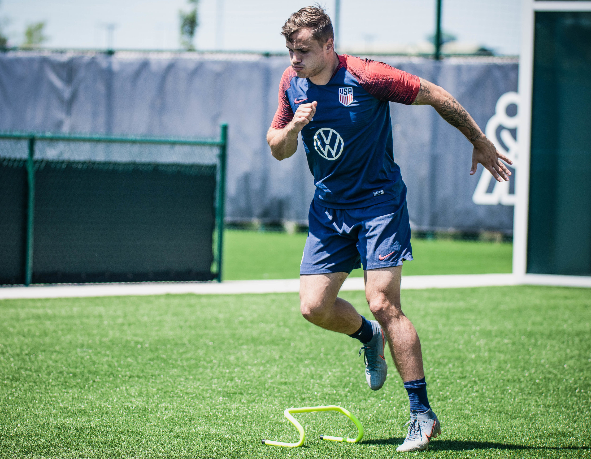 Jordan Morris jumps during the U.S. Men's National Team, Gold Cup training session on Tuesday, June 25, 2019 at Pinnacle National Development Center in Kansas City, Kansas. The U.S. Men's National Team will face off with Panama in the team's final group stage match of the Gold Cup. | Photo by: Noah Riffe