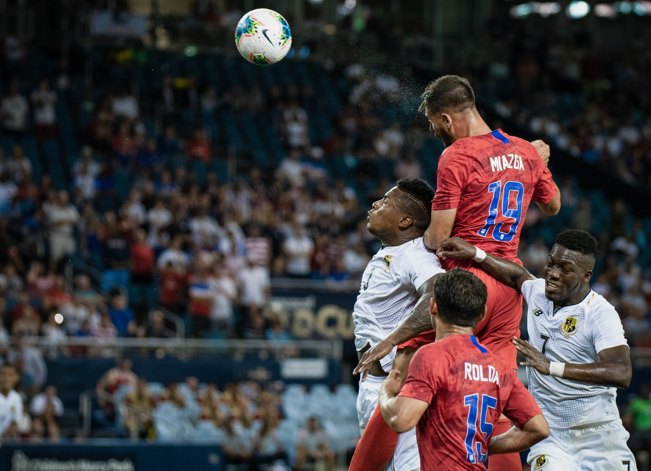 Matt Miazga (19) heads the ball during the United States vs. Panama, Gold Cup match on Wednesday, June 26, 2019 at Children's Mercy Park in Kansas City, Kansas. The U.S. defeated Panama 1-0 with a bicycle kick goal scored by Jozy Altidore in the 66th' minute.