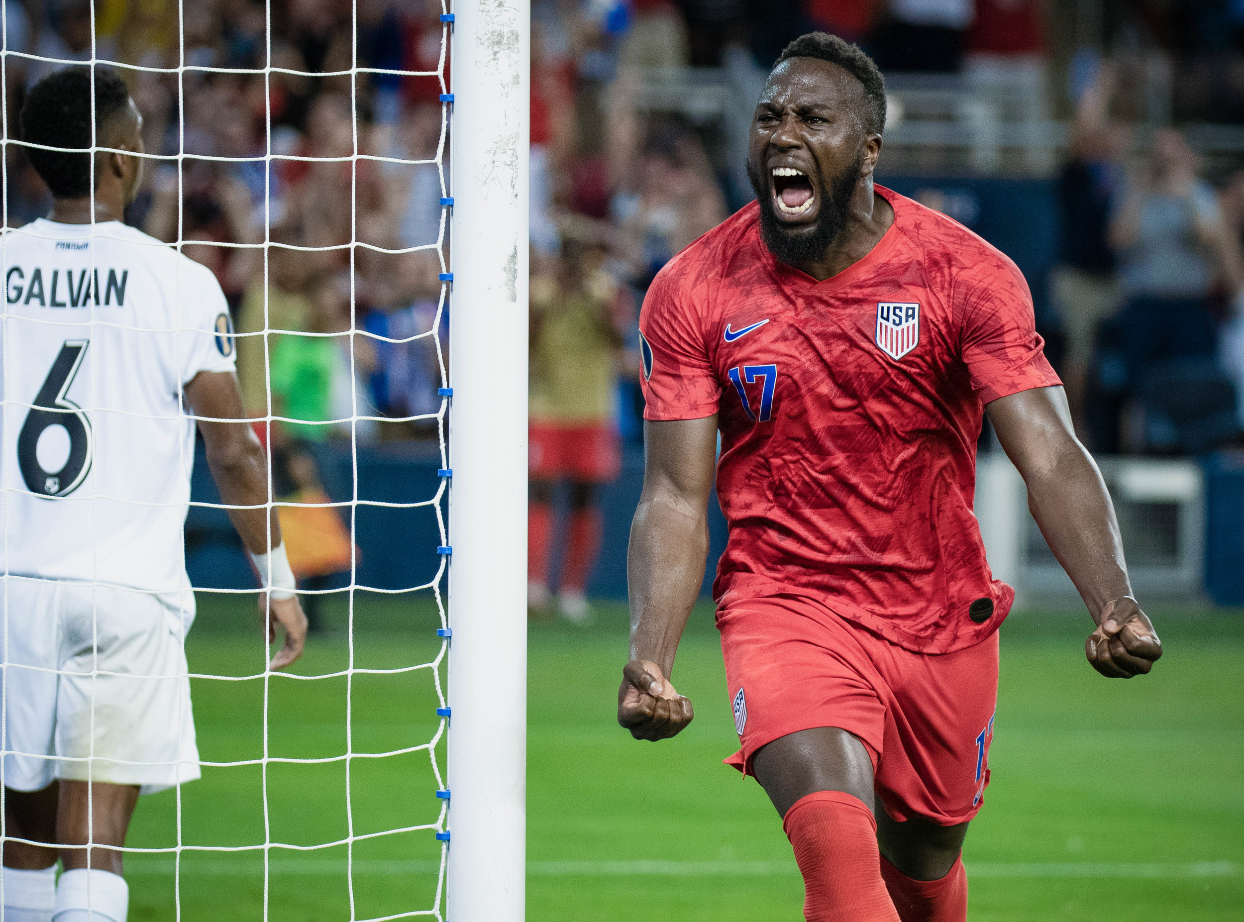 Jozy Altidore (17) celebrates during the United States vs. Panama, Gold Cup match on Wednesday, June 26, 2019 at Children's Mercy Park in Kansas City, Kansas. The U.S. defeated Panama 1-0 with a bicycle kick goal scored by Jozy Altidore in the 66th' minute.
