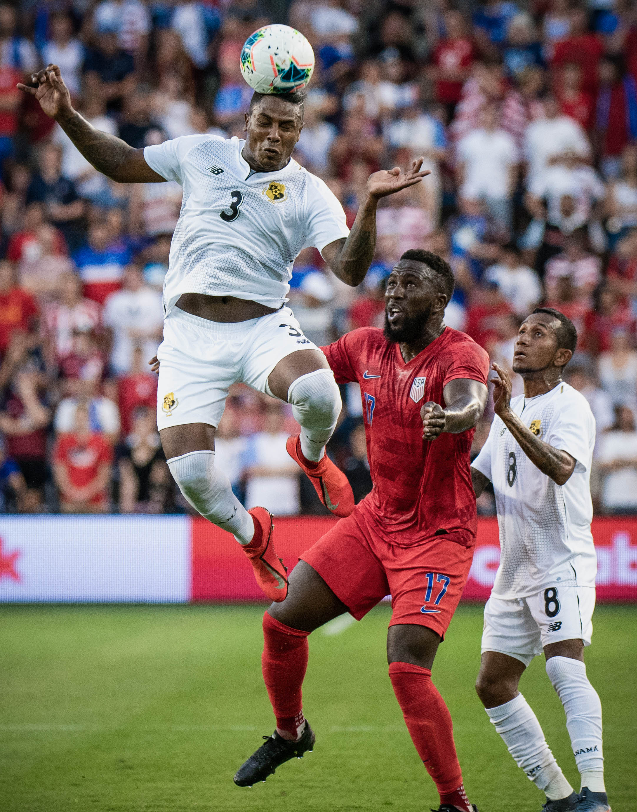 Harold Cummings (3) celebrates during the United States vs. Panama, Gold Cup match on Wednesday, June 26, 2019 at Children's Mercy Park in Kansas City, Kansas. The U.S. defeated Panama 1-0 with a bicycle kick goal scored by Jozy Altidore in the 66th' minute.