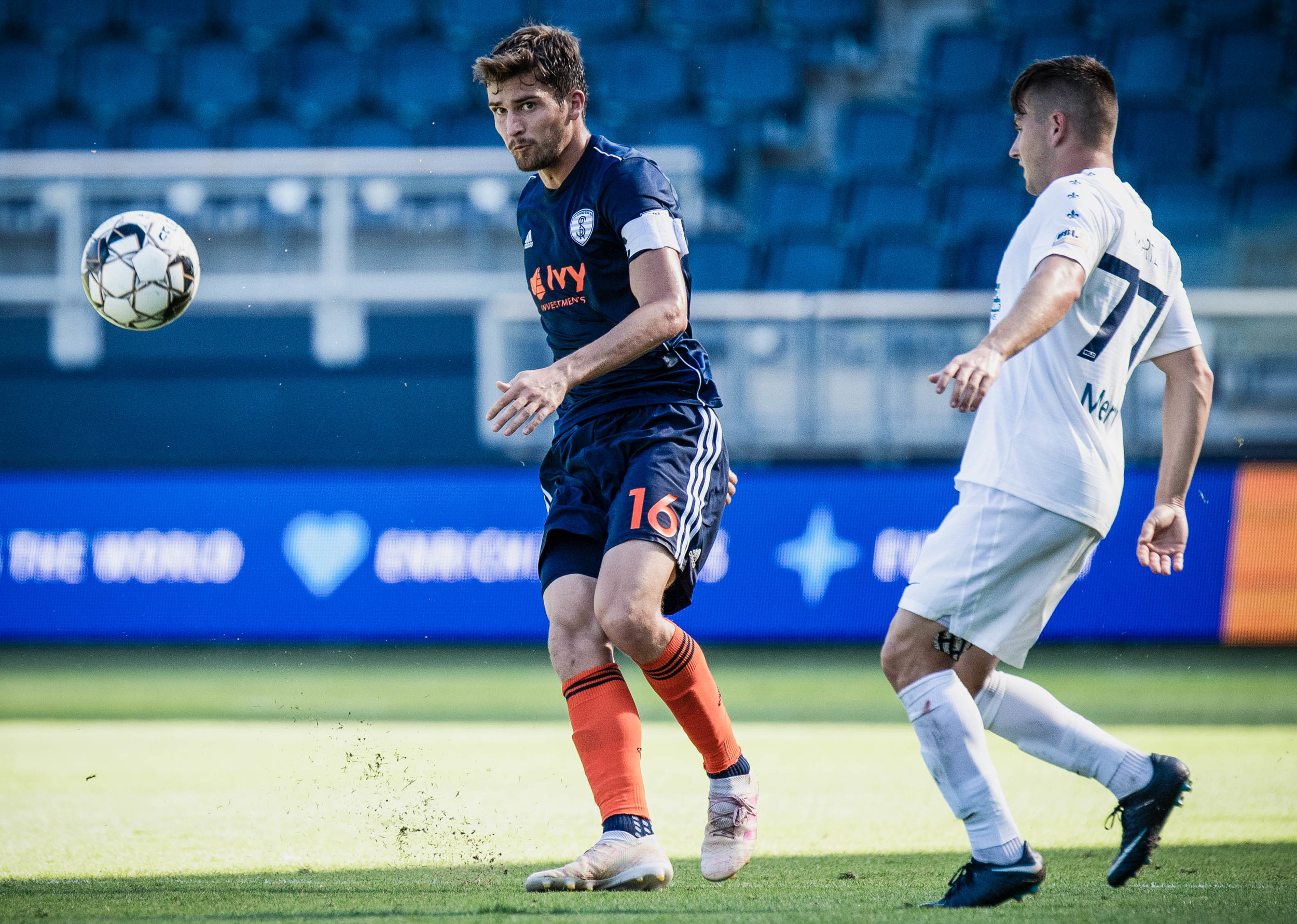 Graham Smith (16) plays a long ball during the Swope Park Rangers vs. Saint Louis FC match on Sunday, June 30, 2019 at Children's Mercy Park in Kansas City, Kansas. The Rangers took down Saint Louis 2-1 breaking their 8 game winless streak.