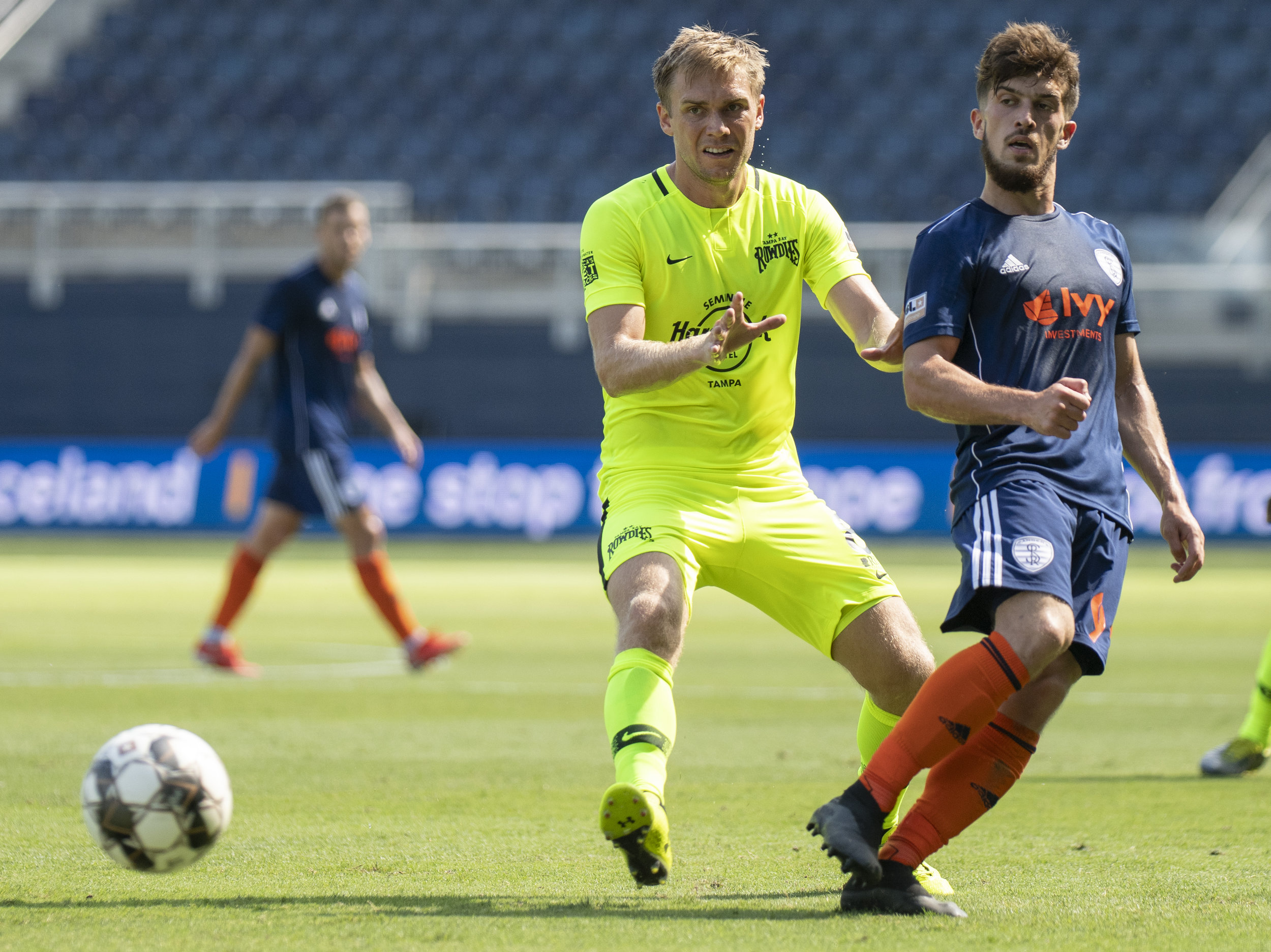 Rassambek Akhmatov (95) passes the ball during the Swope Park Rangers vs. Tampa Bay Rowdies match on Sunday, July 7, 2019 at Children's Mercy Park in Kansas City, Kansas. The Rangers fell to the Rowdies 3-1 .