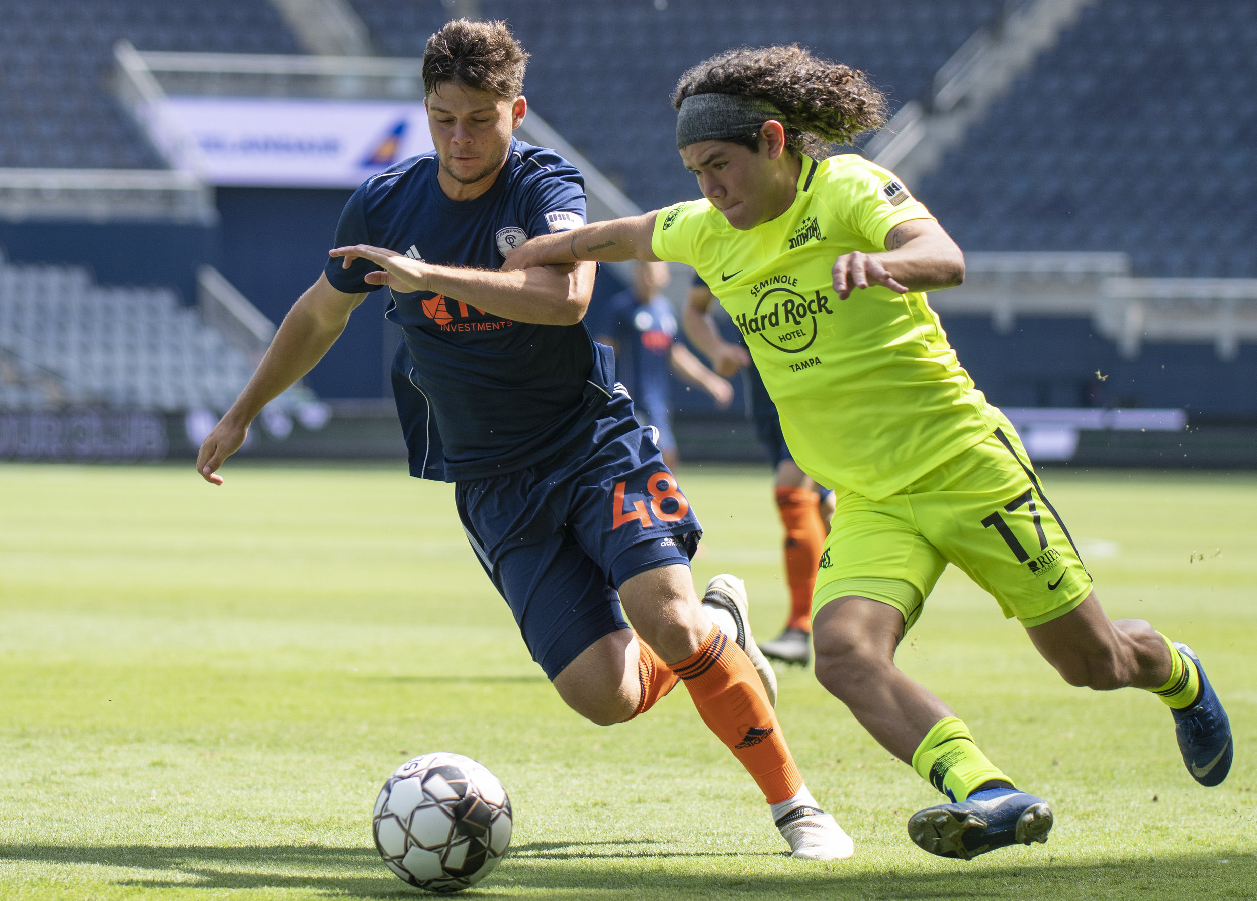 Juan Tejada (17) fights for the ball during the Swope Park Rangers vs. Tampa Bay Rowdies match on Sunday, July 7, 2019 at Children's Mercy Park in Kansas City, Kansas. The Rangers fell to the Rowdies 3-1 .