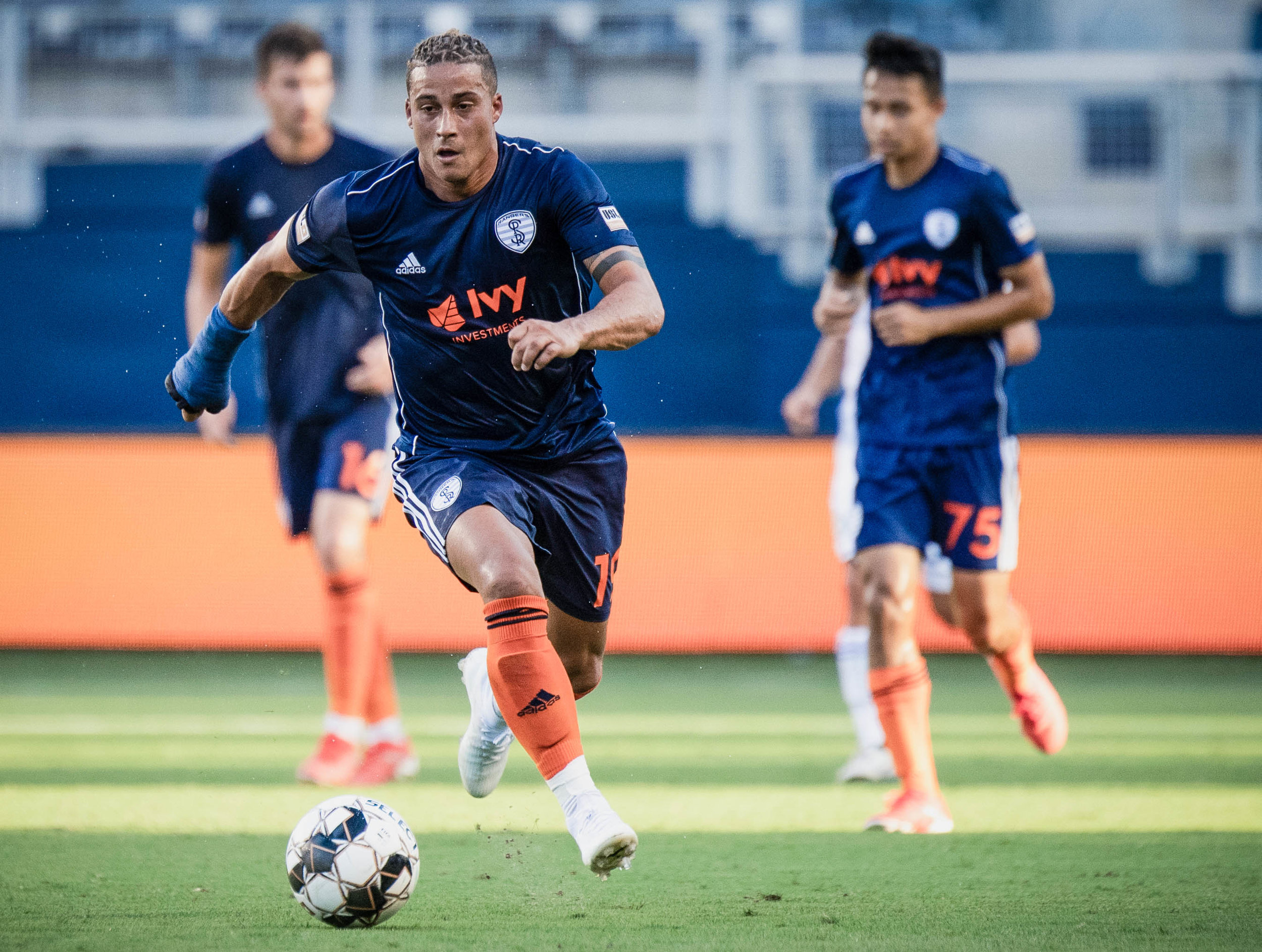 Erik Hurtado dribbles the ball during the Swope Park Rangers vs. Hartford Athletic match on Wednesday, July 17, 2019 at Children's Mercy Park in Kansas City, Kansas. The Rangers defeated Hartford 4-3 improving their record to 3-6-9.