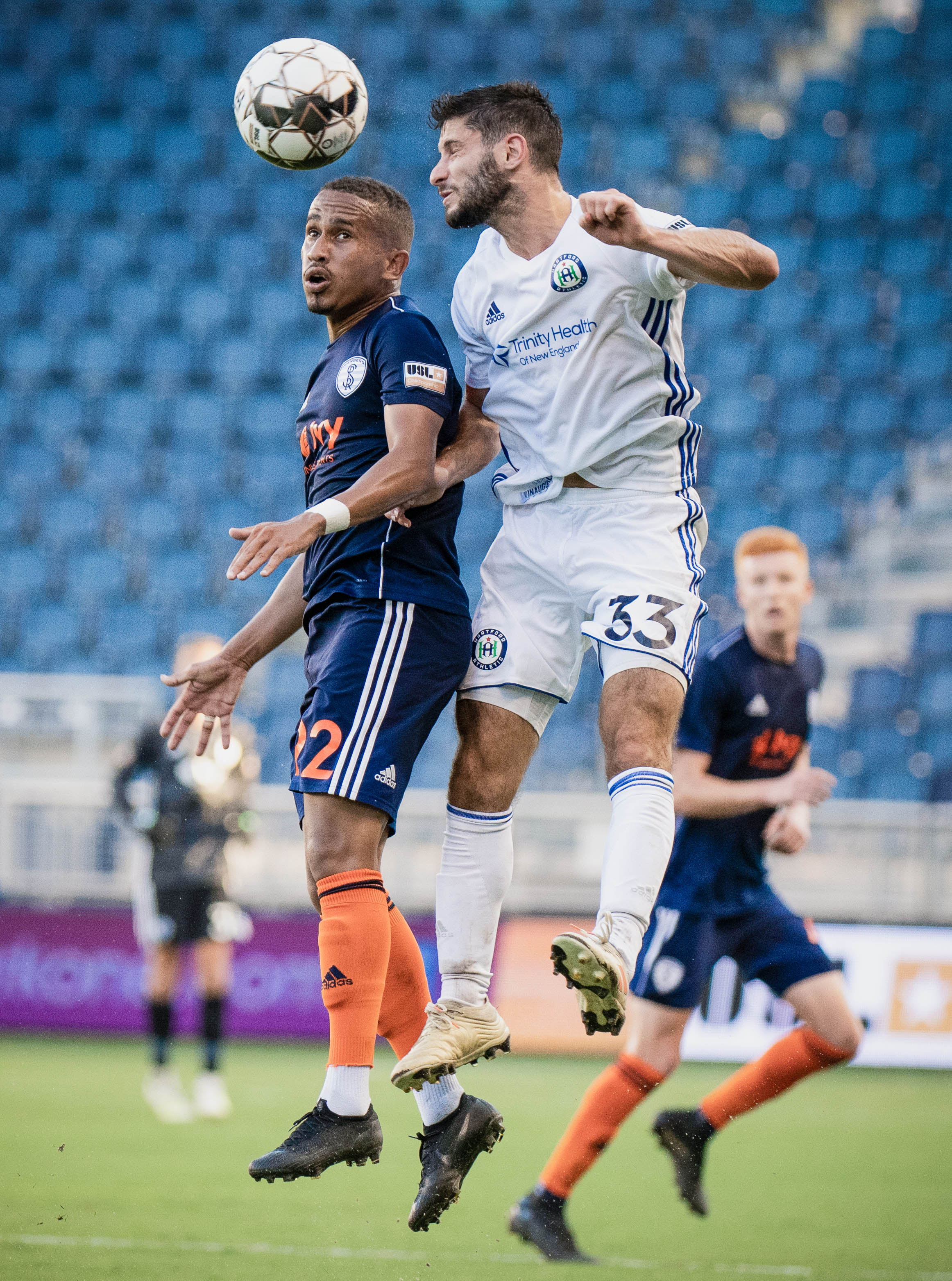 Alex heads the ball during the Swope Park Rangers vs. Hartford Athletic match on Wednesday, July 17, 2019 at Children's Mercy Park in Kansas City, Kansas. The Rangers defeated Hartford 4-3 improving their record to 3-6-9.