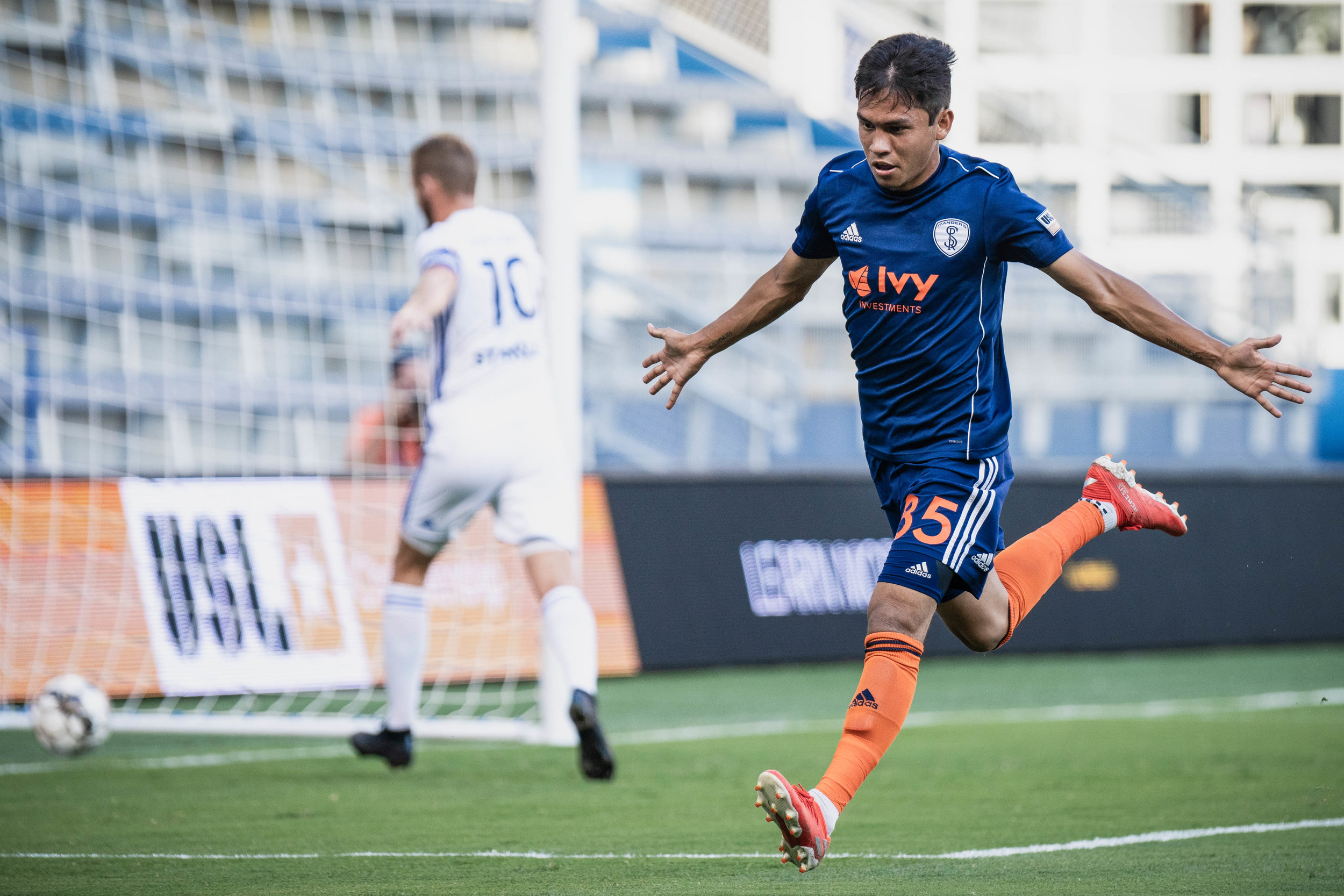 Felipe Hernandez celebrates after scoring in the Swope Park Rangers vs. Hartford Athletic match on Wednesday, July 17, 2019 at Children's Mercy Park in Kansas City, Kansas. The Rangers defeated Hartford 4-3 improving their record to 3-6-9.