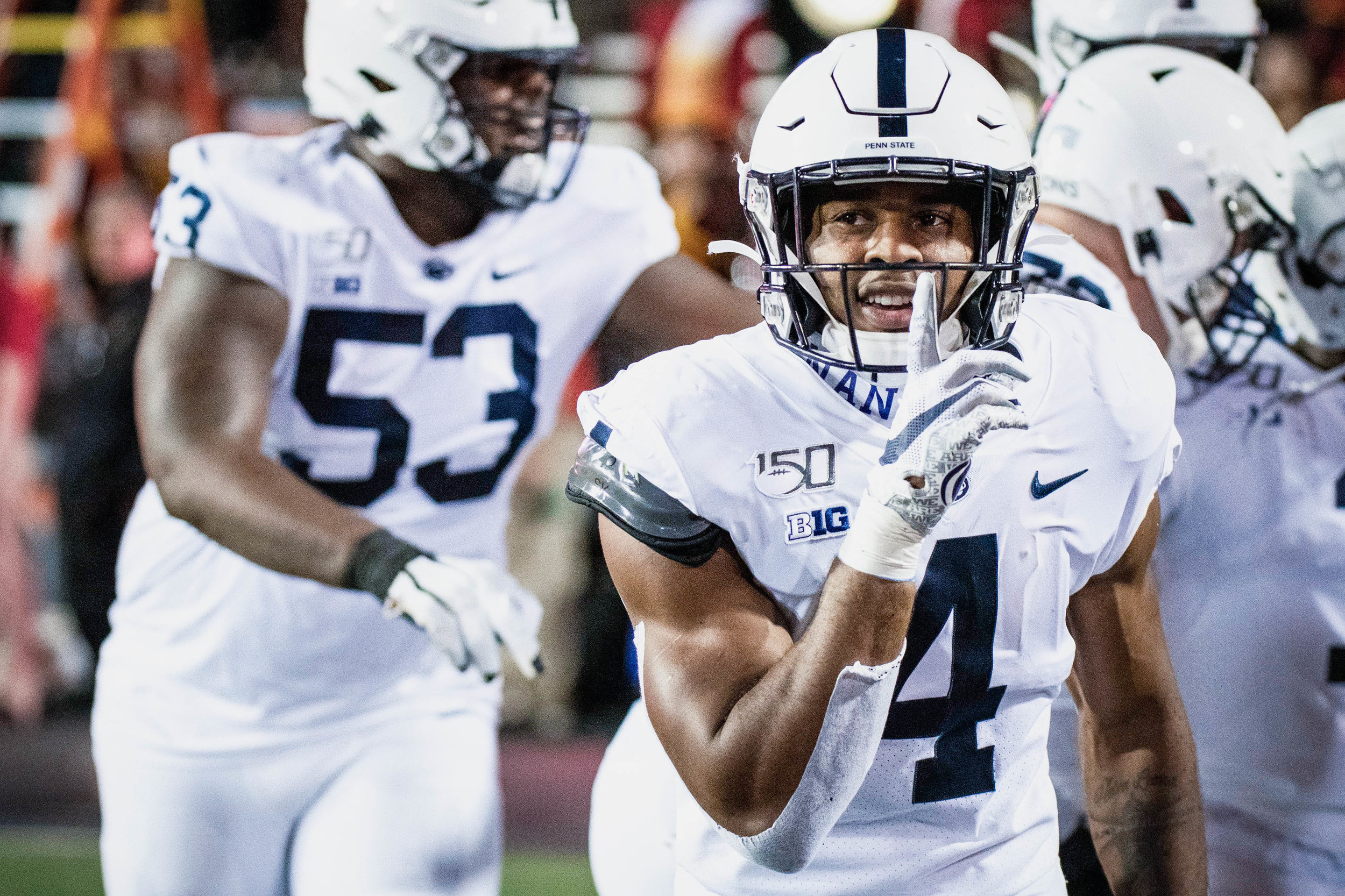 Penn State Nittany Lions running back Journey Brown (4) celebrates during the game against Maryland on Friday, Sept. 27, 2019 at Capital One Field in College Park, Md. The Nittany Lion's defeated the Terrapins 59-0. | Photo by: Noah Riffe