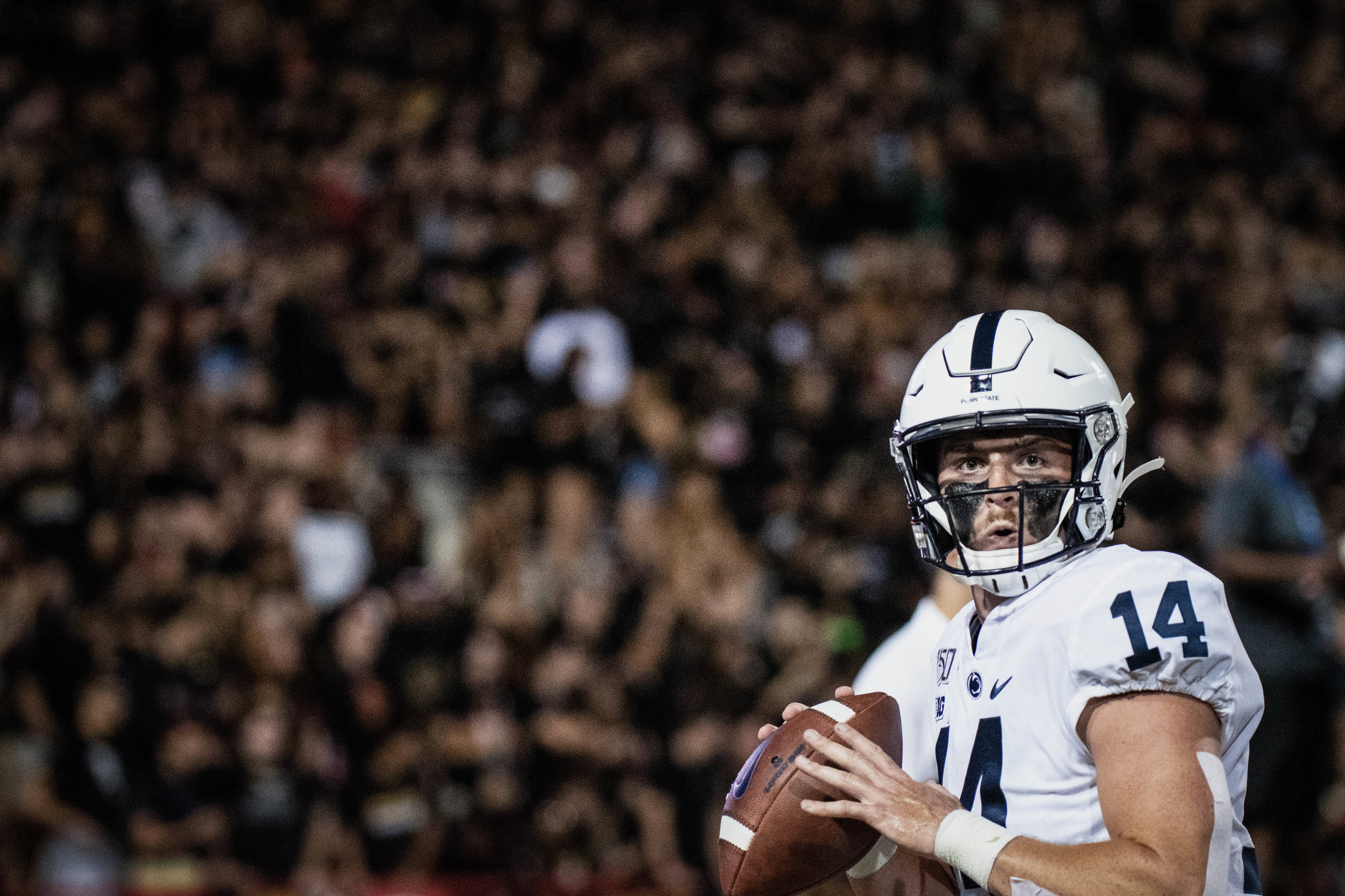Penn State Nittany Lions quarterback Sean Clifford (14) warms up before the game against Maryland on Friday, Sept. 27, 2019 at Capital One Field in College Park, Md. The Nittany Lion's defeated the Terrapins 59-0.