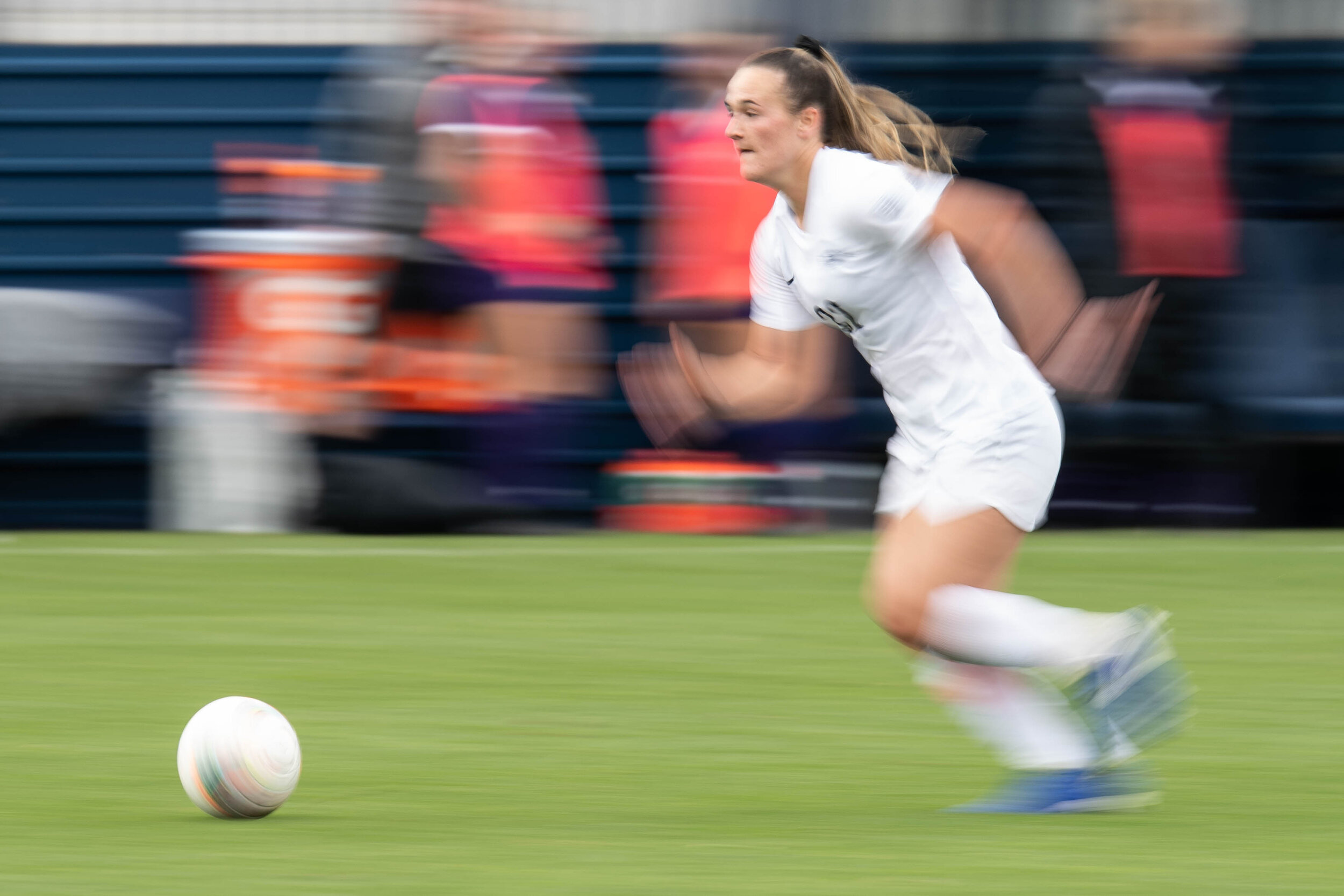 Forward, Jordan Canniff (32) dribbles the ball during the match against Northwestern on Sunday, Oct. 20, 2019 at Jeffrey Field. | Photo by: Noah Riffe