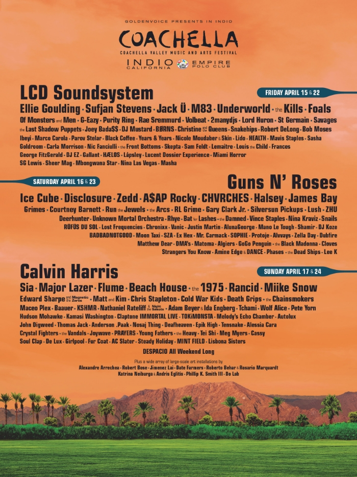 Coachella 2016 lineup - from Coachella.com