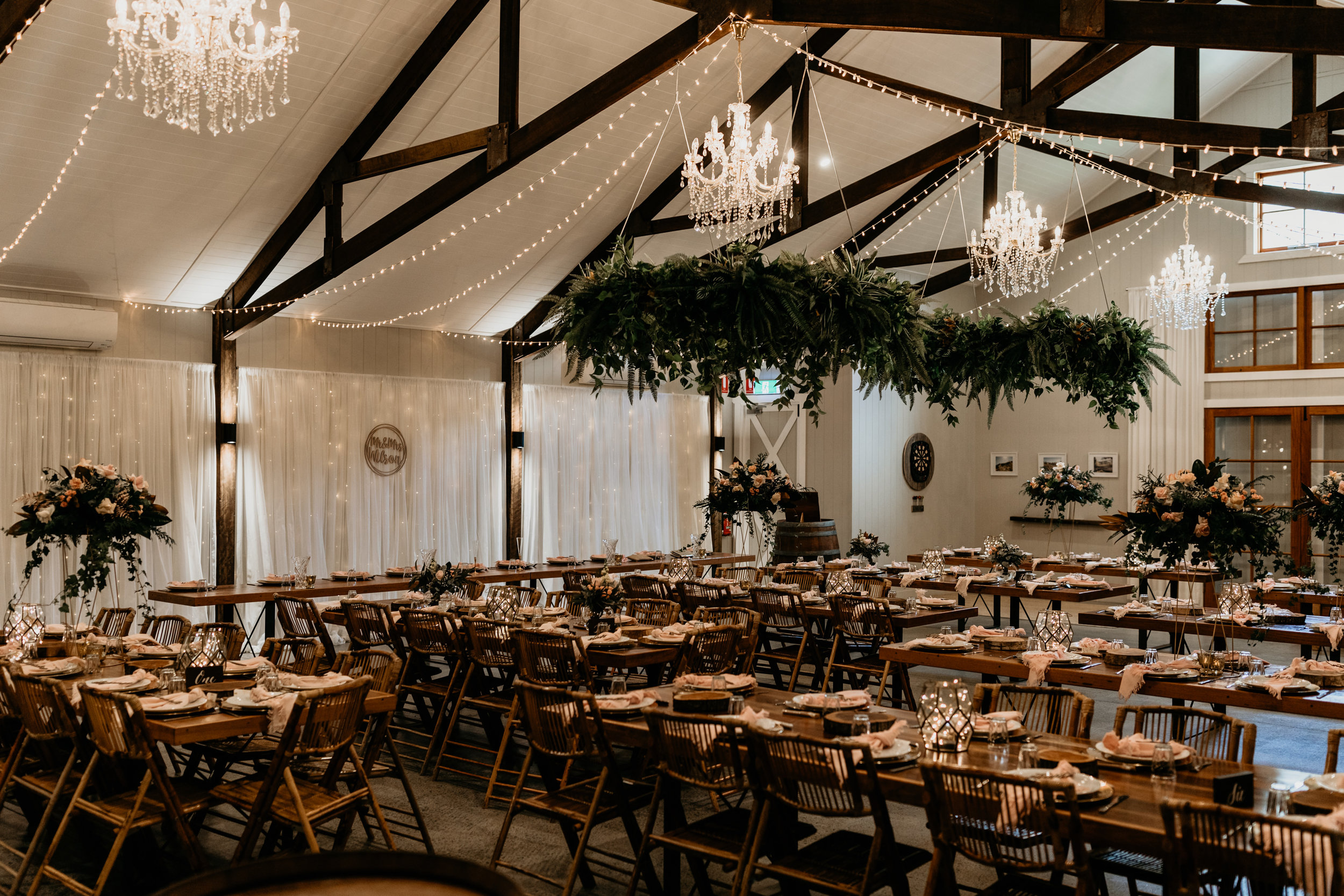 Reception set up and styling at Cowbell Creek, Gold Coast wedding venue.