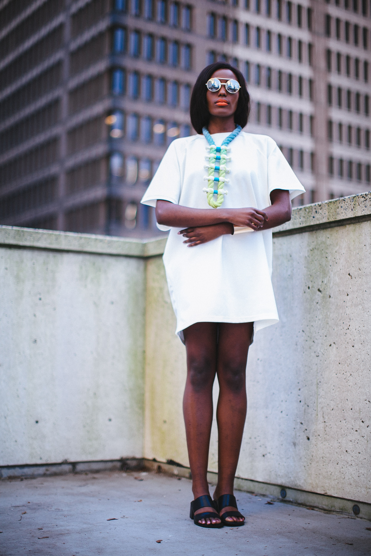 "Photographer: Cecilia Corsano  Model: Anita Mwiruki  Wearing the ""Layback"" necklace"