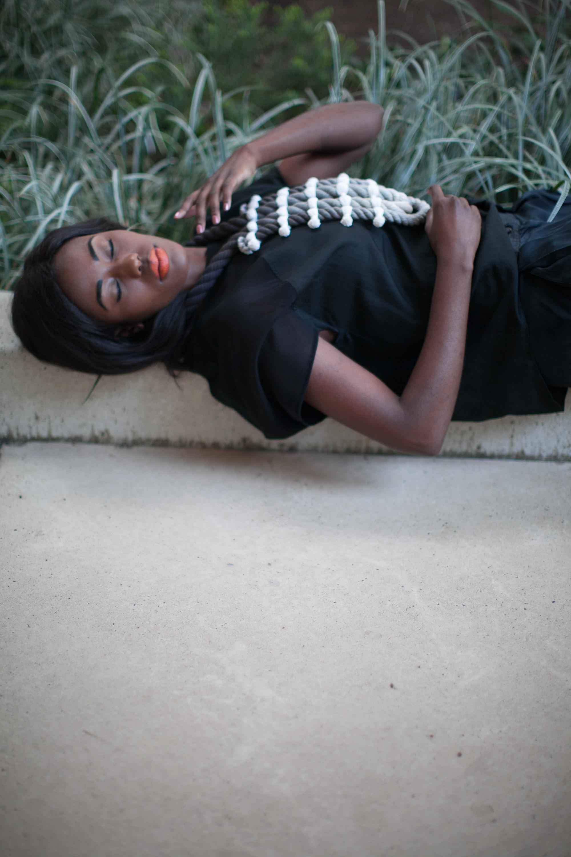 """Photographer: Cecilia Corsano  Model: Anita Mwiruki  Wearing the """"Border"""" necklace"""