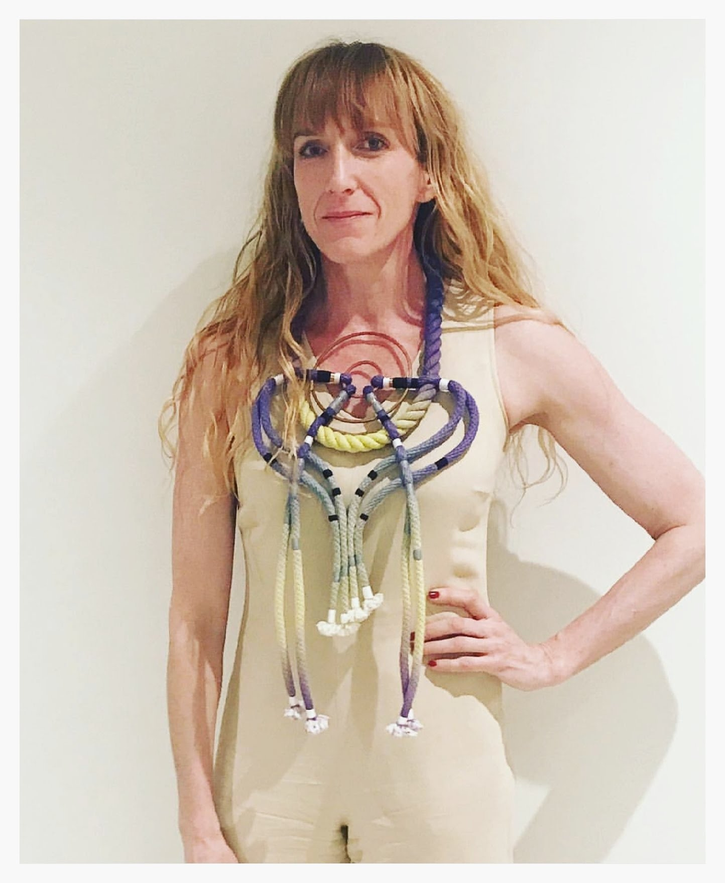 Libby Callaway wearing her FFFFFF necklace at the Keep Shop/Neon Zinn pop-up.