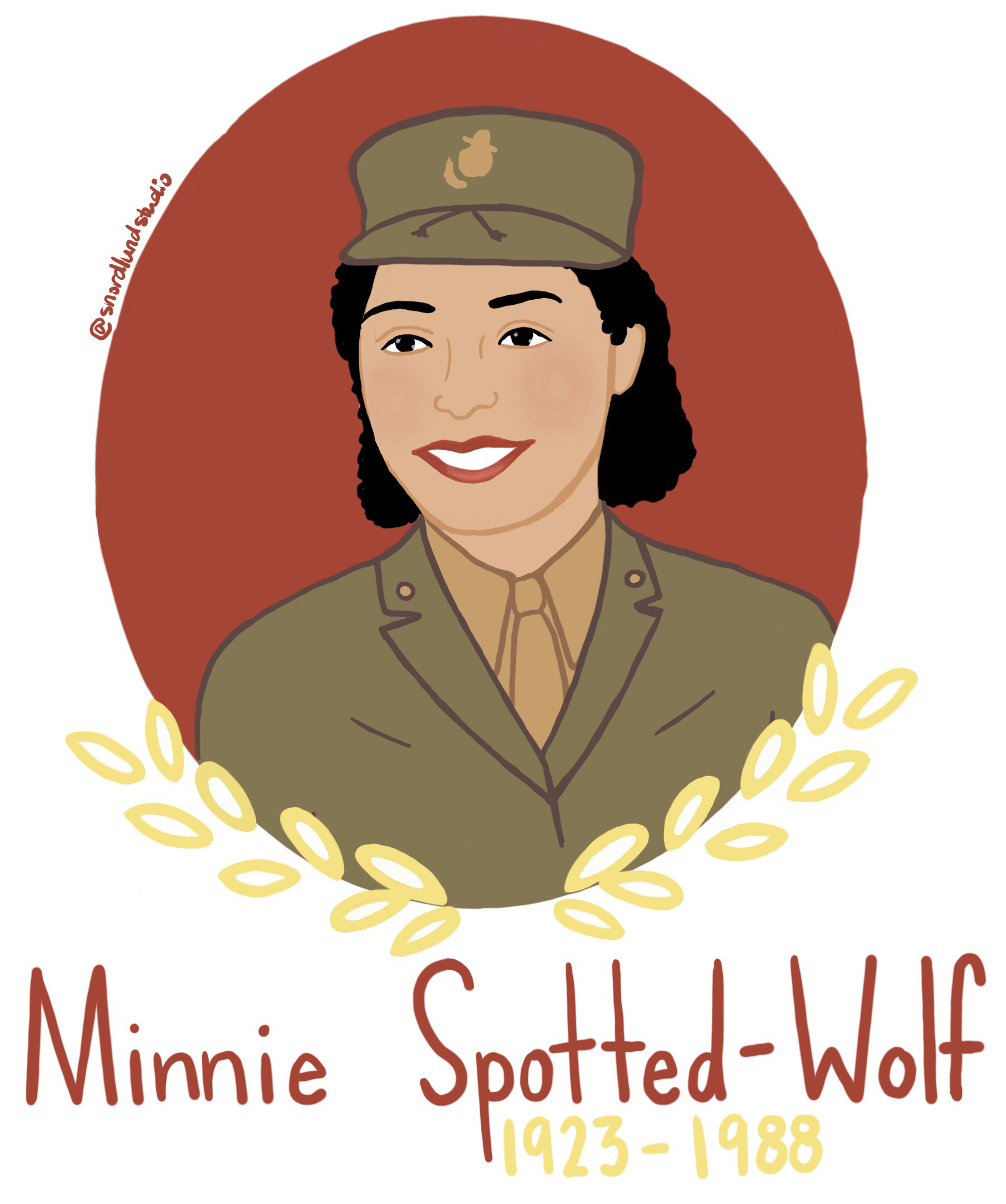 51. Minnie Spotted-Wolf - Minnie Spotted-Wolf (1923-1988) was the first Native American woman to enlist in the US Marine Corps. After her military service, she studied elementary education and taught for 29 years.
