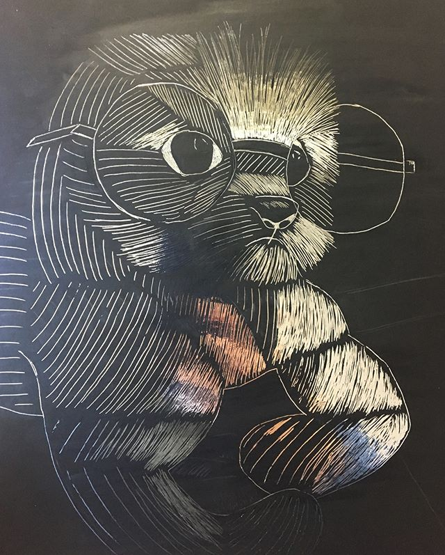11th graders just finished their  scratchboards applying their understanding of hatching, cross-hatching, and stippling. Here are a few of their artworks 🙂