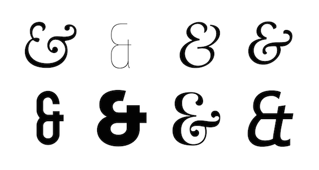Various italic examples of the ampersand reflecting the ligature of the letters 'Et' — the Latin word for 'and'.