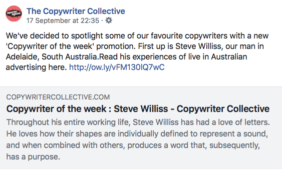 Facebook post from Copywriter Collective