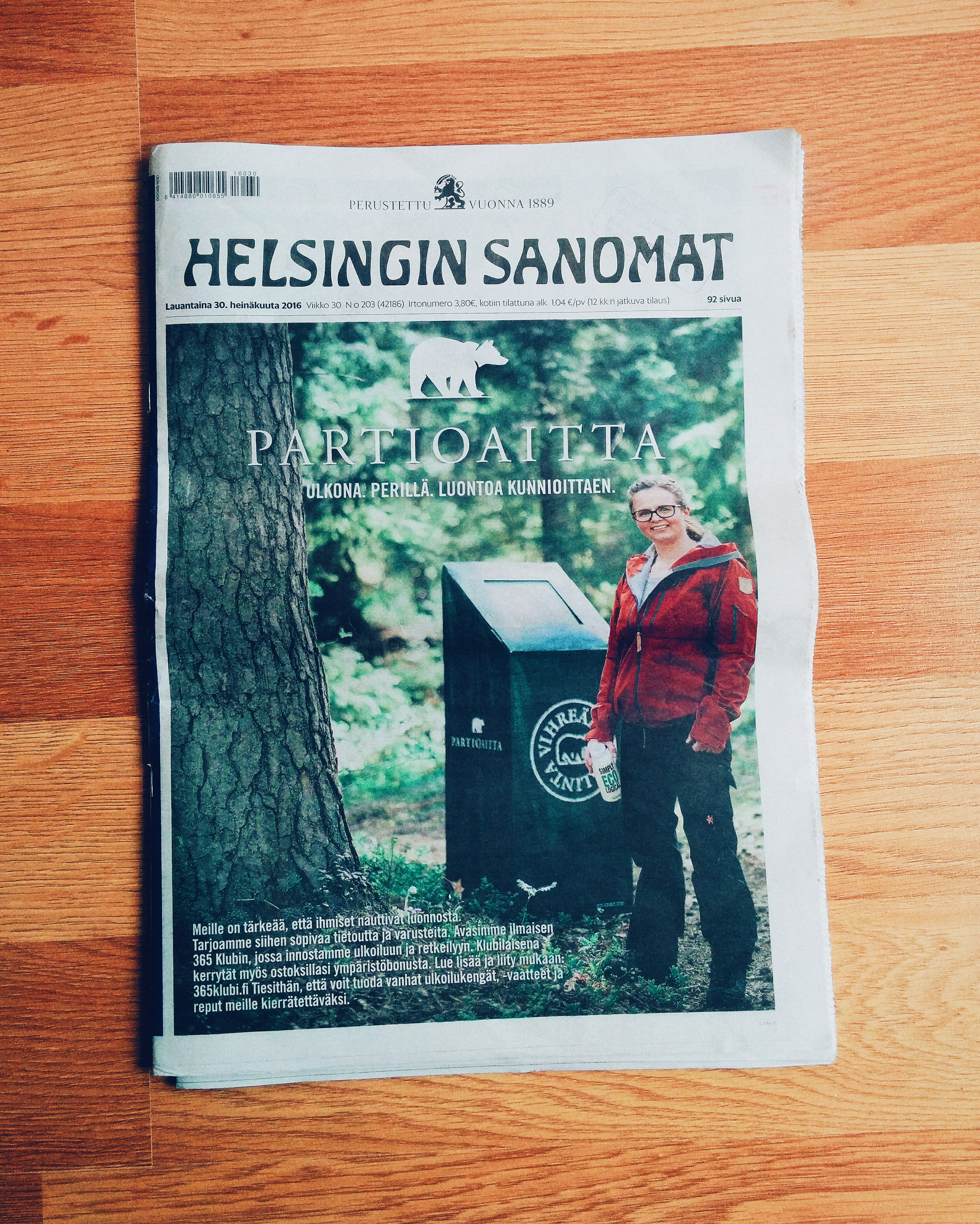 One of my photos for  Partioaitta on the front cover of  Helsingin Sanomat .