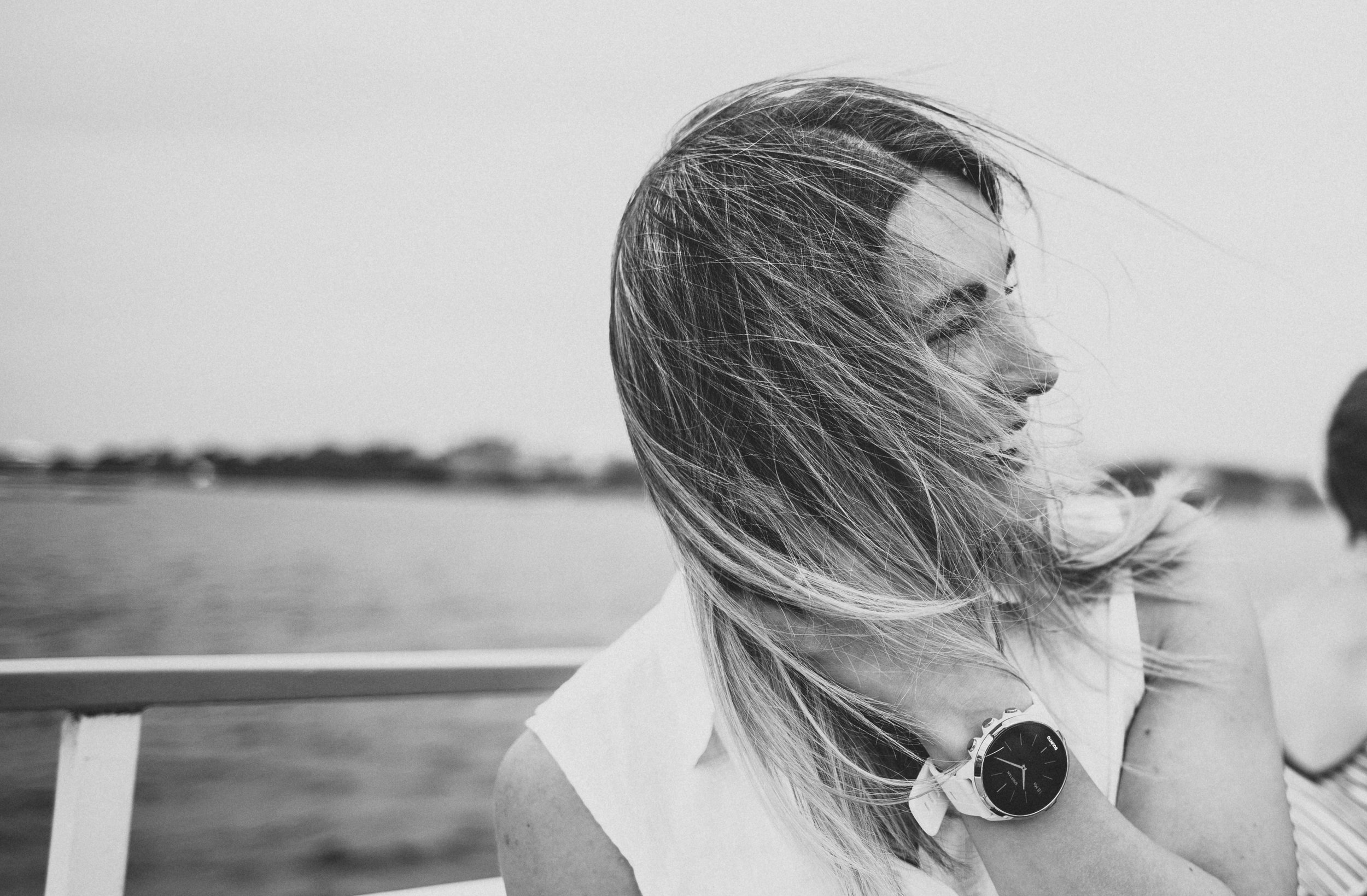 Wind in her hair.