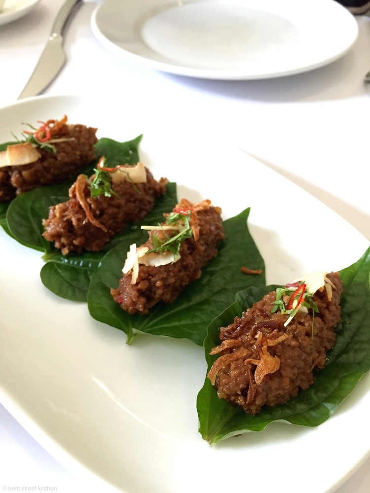 Fresh betel leaves with sticky caramelised Hampshire pork