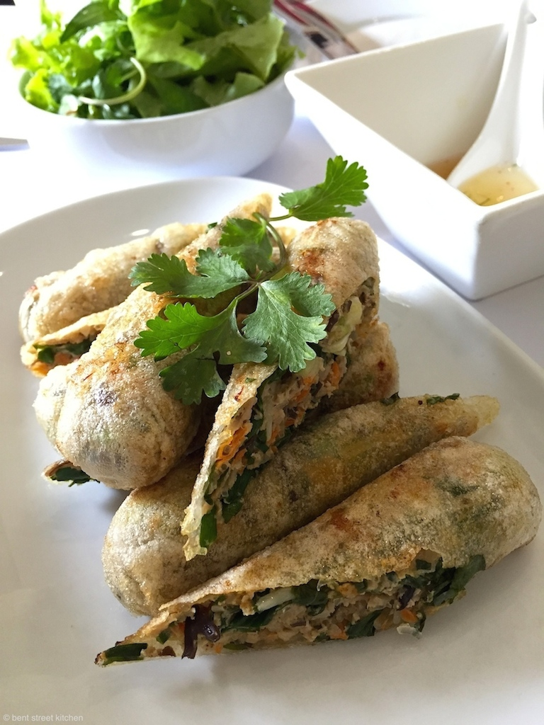 Hanoi Spring Rolls with fresh herbs and classic Vietnamese dipping sauce