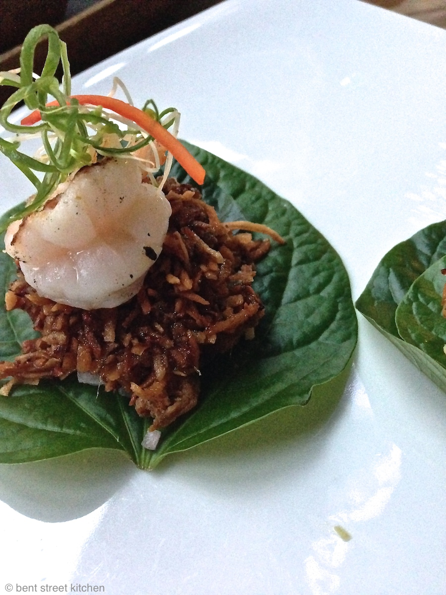 prawns on betel leaf