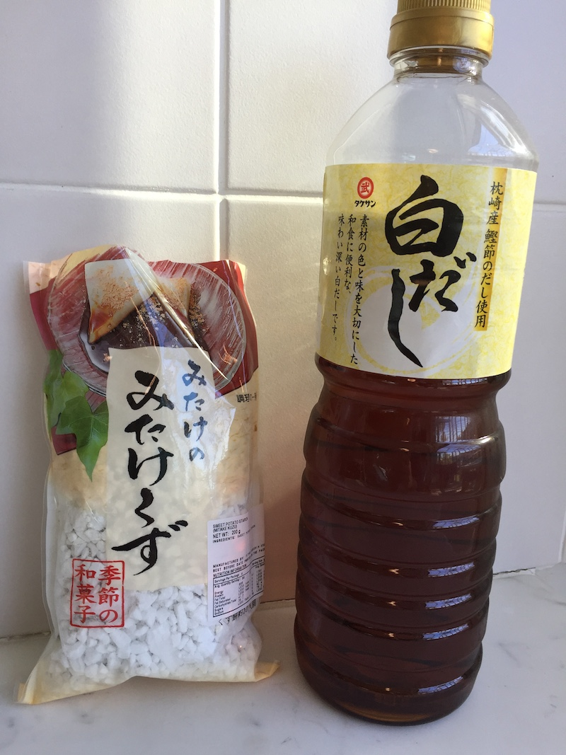 *You can buy kuzu (arrowroot) starch and shiro dashi from Japanese groceries.