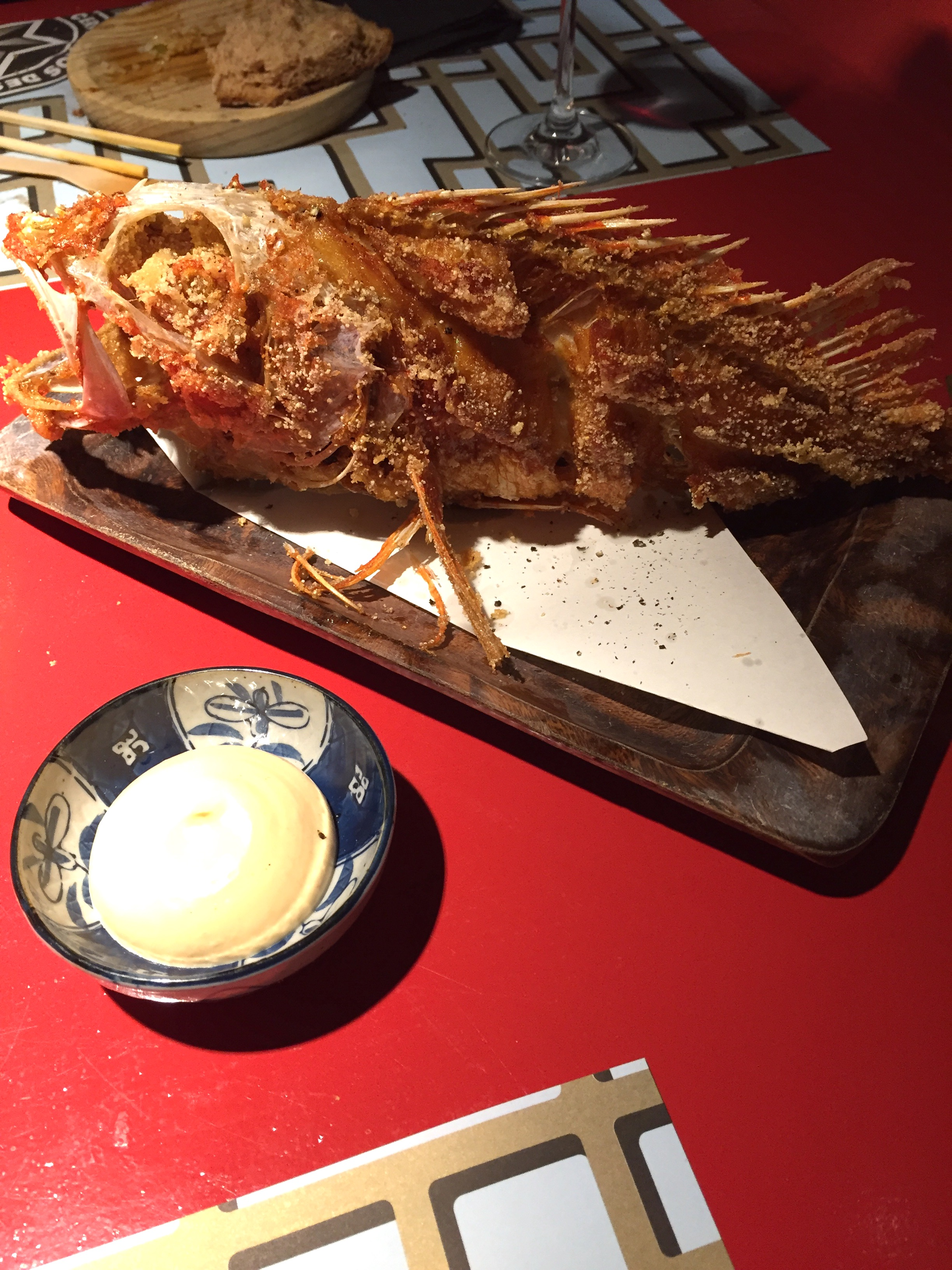 Fritura de cabracho (fried scorpion fish) with garlic aioli