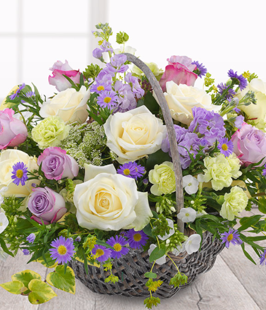 Country Garden - A fantastically fragrant English Country Garden Flower Basket. White Roses, Ammi, Phlox and Asters carefully mixed with lilac Roses and Stocks.Shop the basket here