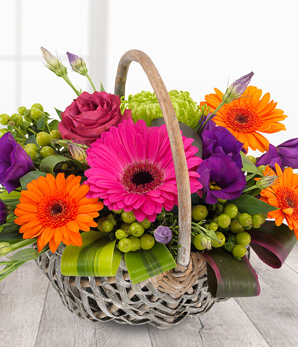 Fruit Basket - An orchestra of colour in one fabulous flower basket arrangement. Cerise Roses and Gerberas, orange Roses and Germini, purple Lisianthus married with Green Chrysanthemums.Shop the basket here