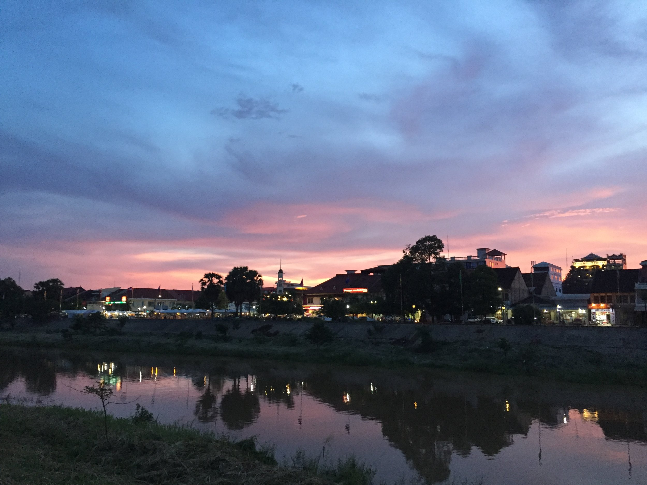 Battambang city in the evening