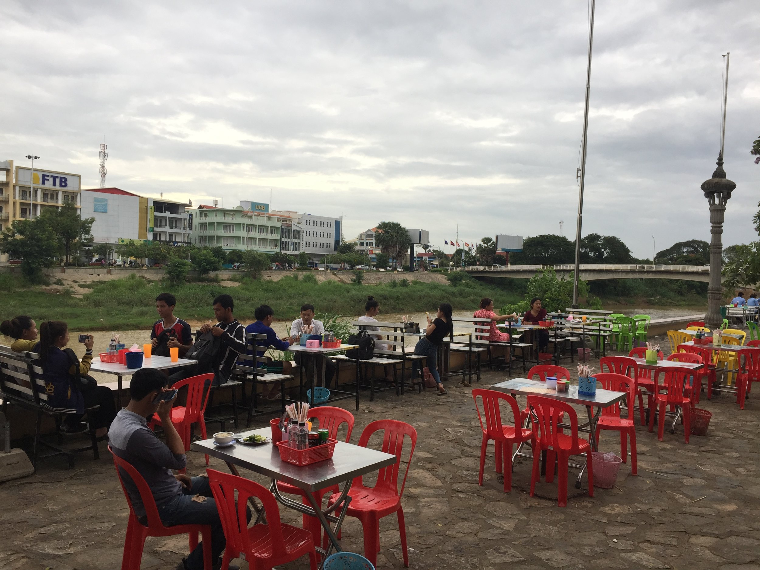 Riverside food stall in Battambang