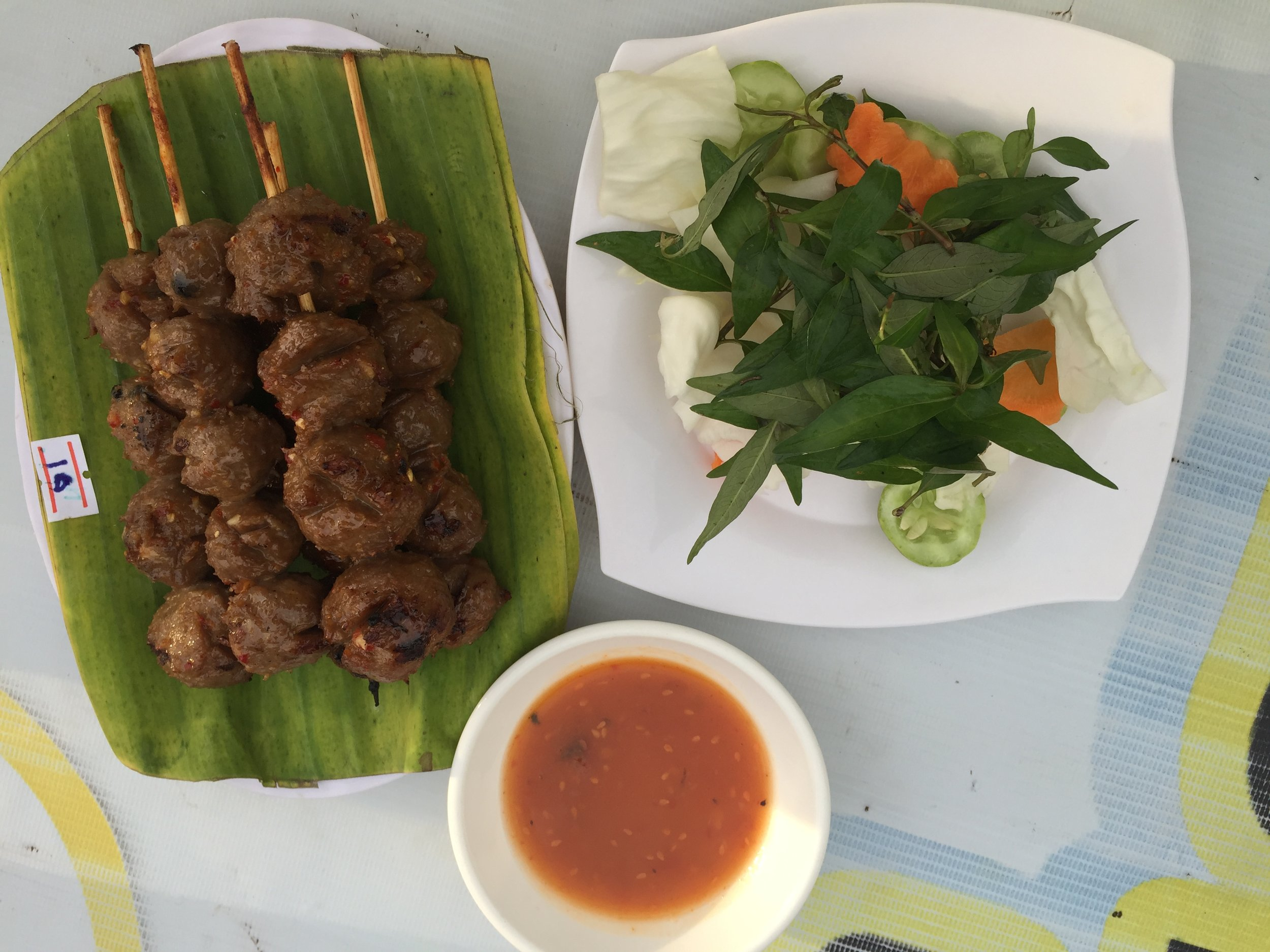 Beef Meatball at the riverfront, Battambang