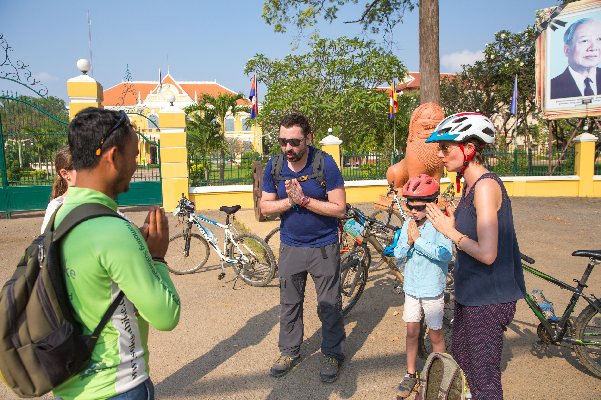 Soksabike's guest is practicing Khmer words and greeting in Cambodian way