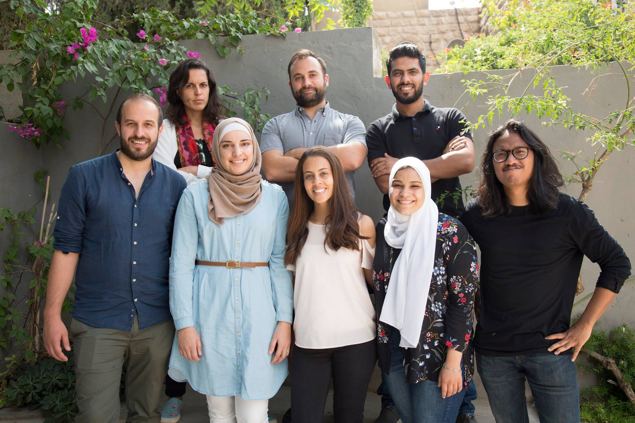 Back row (l to r): Rachel (data journalist from Brazil), Giorgio (team lead, DATA4CHANGE alumni), Saleem (data researcher from Jordan)  Front row (l to r): Daniele (front end developer from Italy), Hadeel (IRCKHF representative), Jude (IRCKHF representative), Reem (graphic designer from Egypt), Lody (creative director and designer from Indonesia)