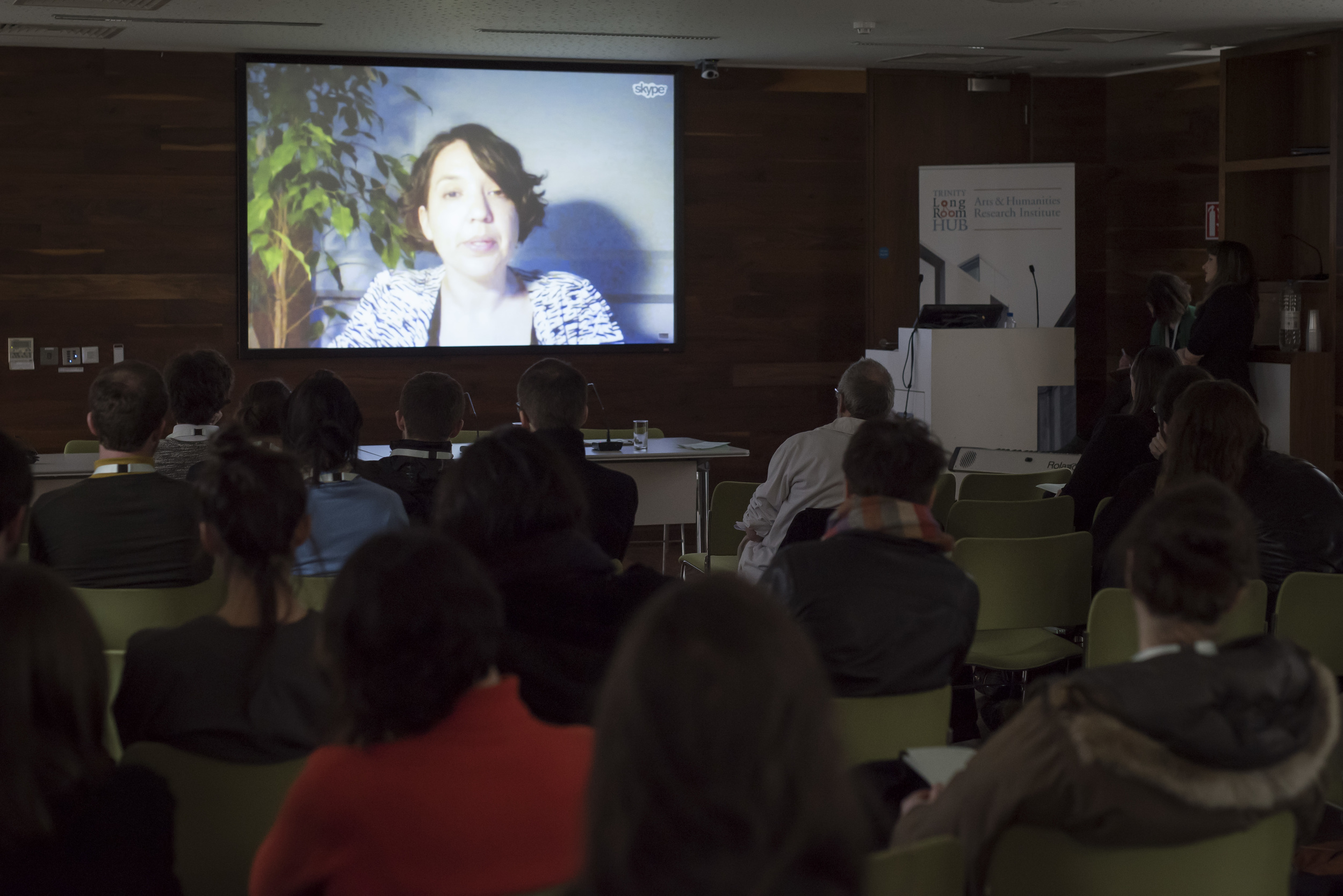 Dr Luna Dolezal speaking via Skype link up at the First International Conference of Ultimology, April 2016. Documentation photography by Louis Haugh.