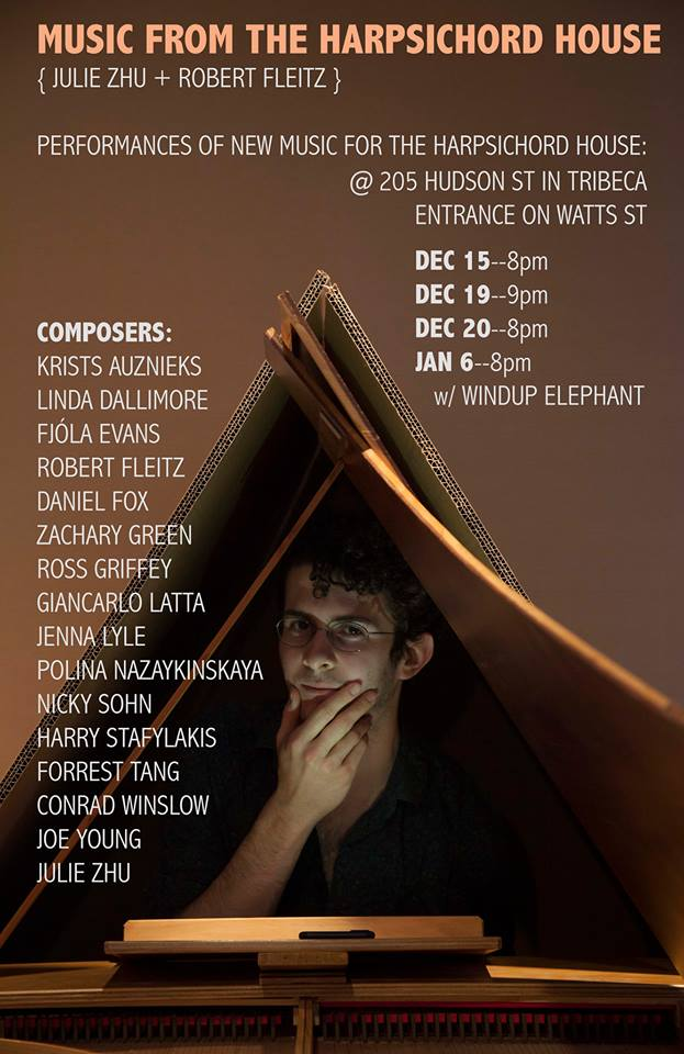 Concert series by the wonderful Robert Fleitz featuring the premiere of  Cavea  for Harpsichord in December 2017.
