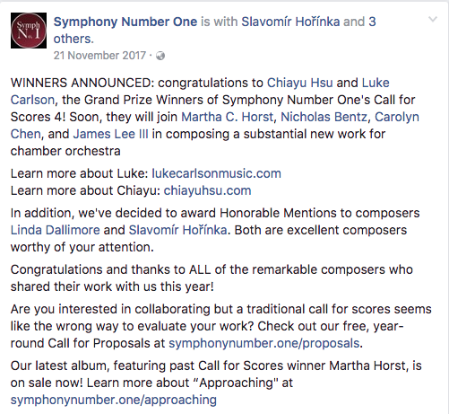 Honorable Mention in Symphony Number One's 2017 Call for scores!