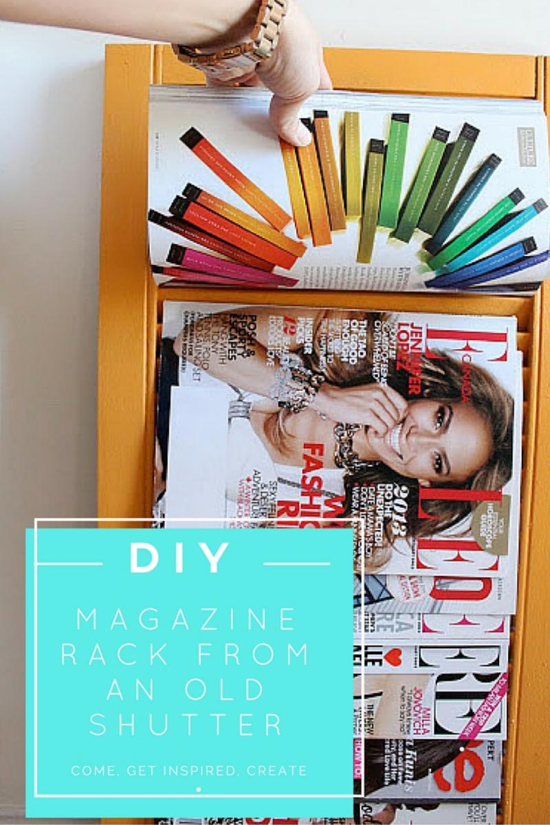 DIY magazine rack from an old shutter