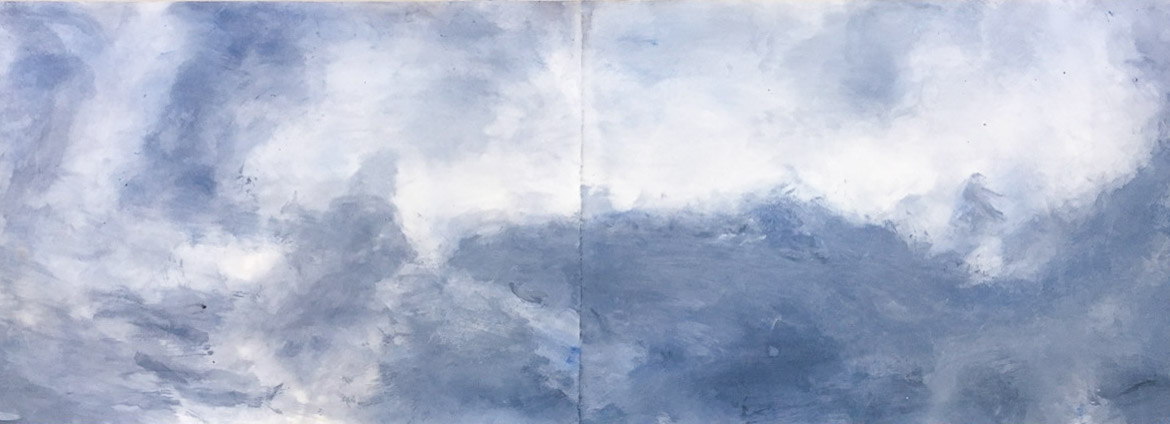 Remember the Tao II 2016 acrylic on paper 22 x 66 inches