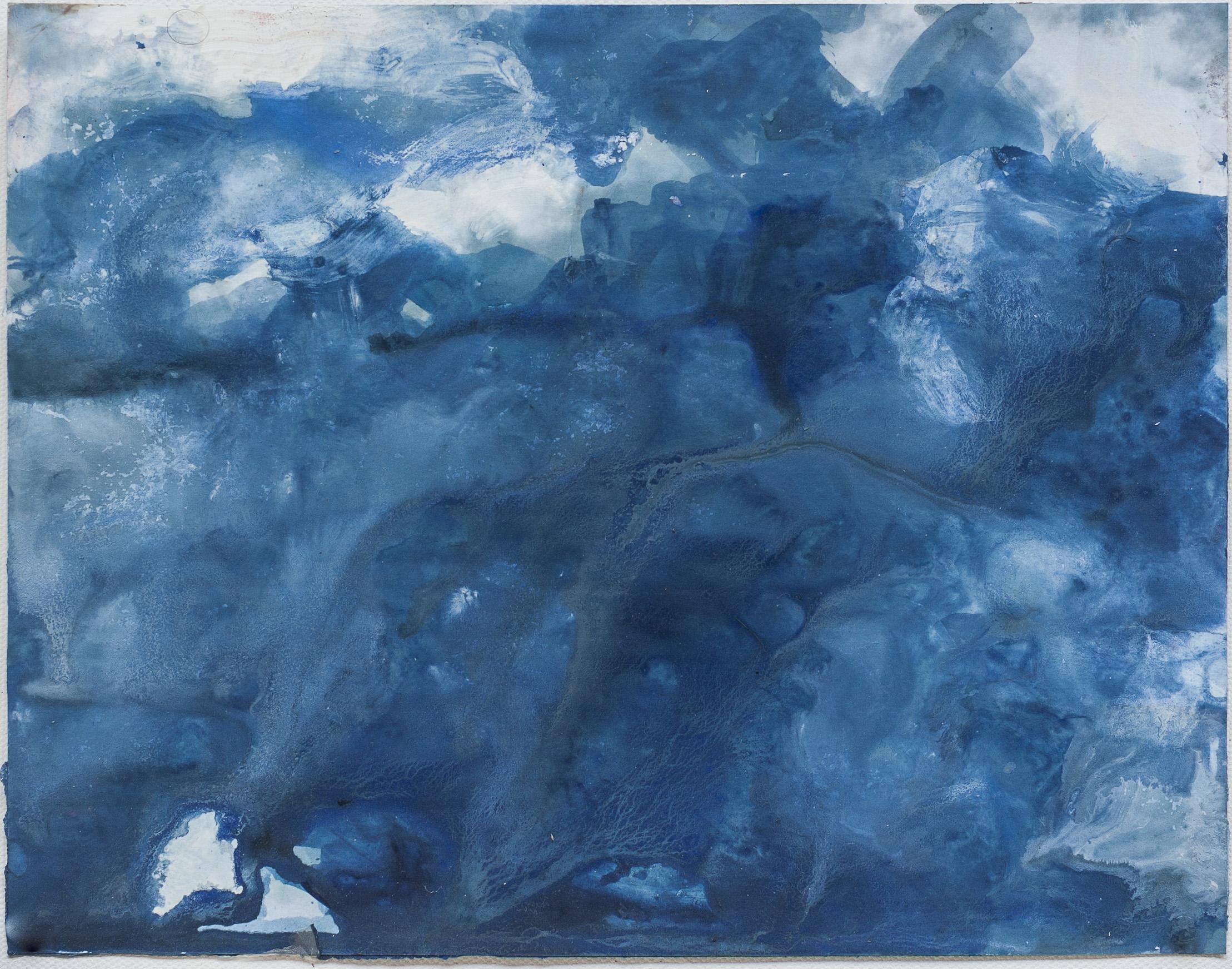 Blue Painting on Sky Walk Photograph  2016 acrylic on digital print 8.5 x 11 inches