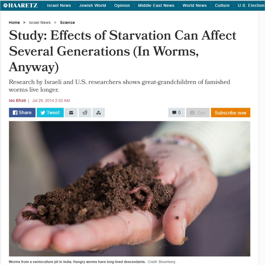 """Study: Effects of starvation can affect several generations (in worms, anyway)"", Haaretz, July 2014"