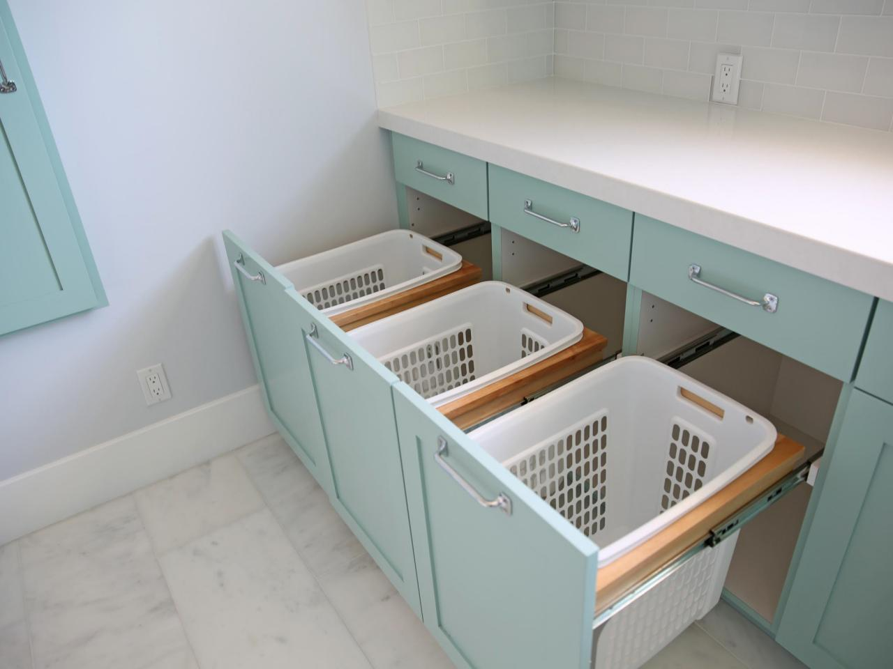 Utility room storage drawers