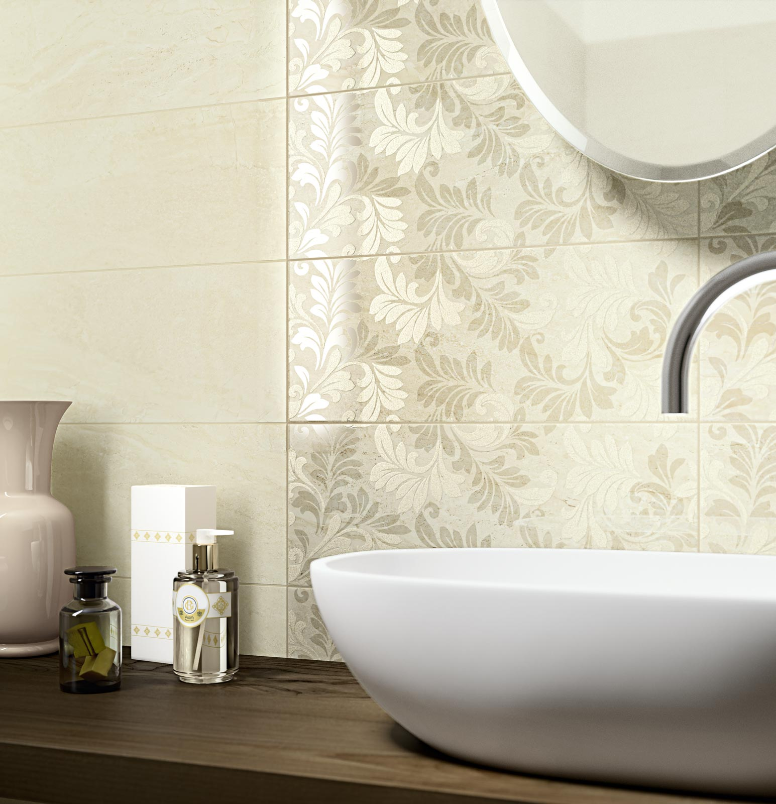 Stylish wash hand basin with splashback